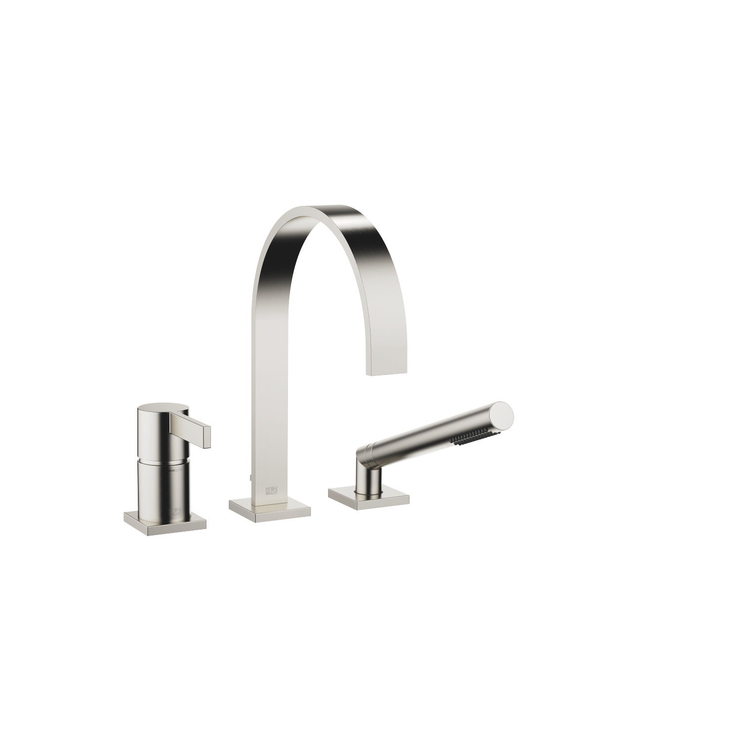 Three-hole single-lever bath mixer for bath rim or tile edge installation - platinum matt