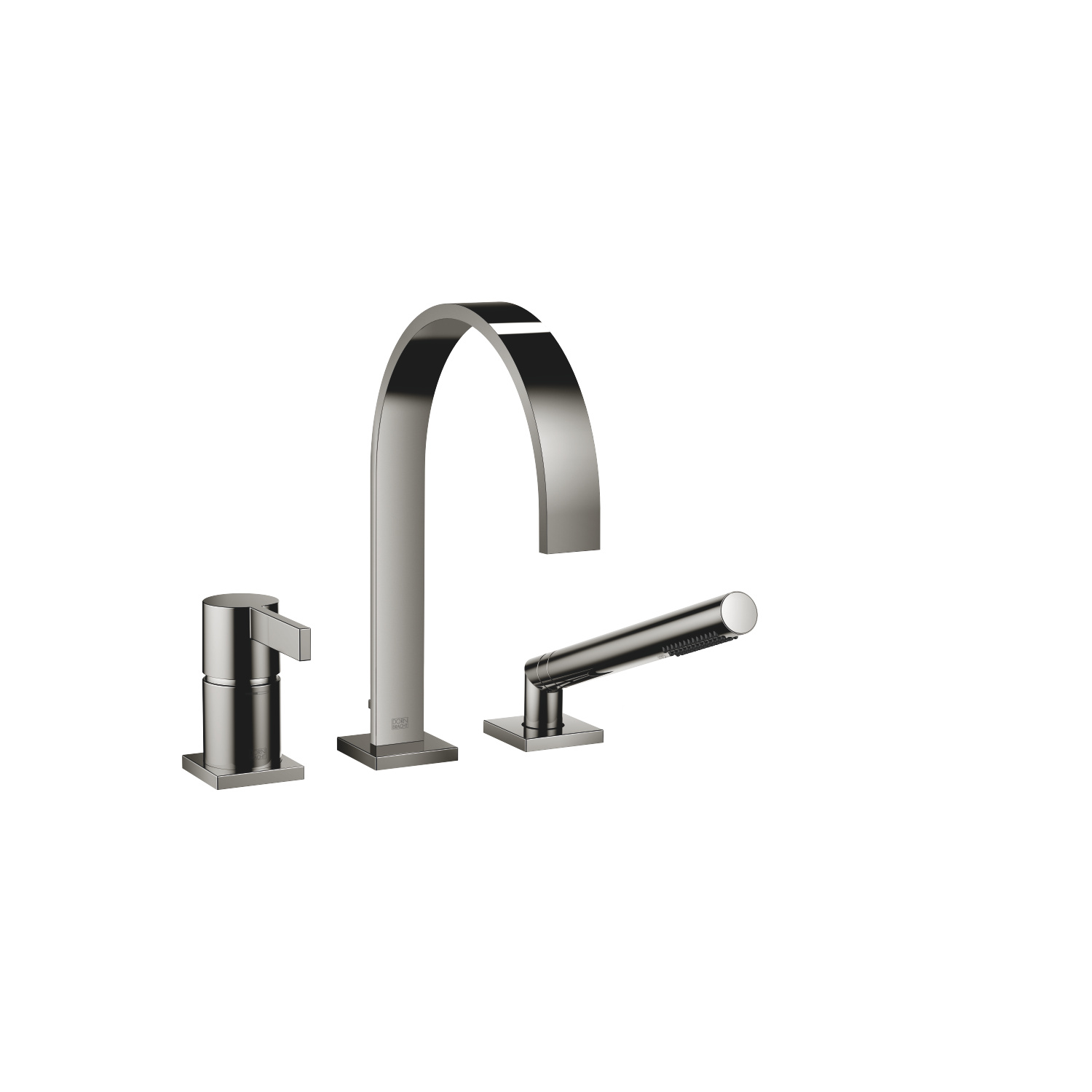 Three-hole single-lever bath mixer for bath rim or tile edge installation - platinum - 27 412 782-08