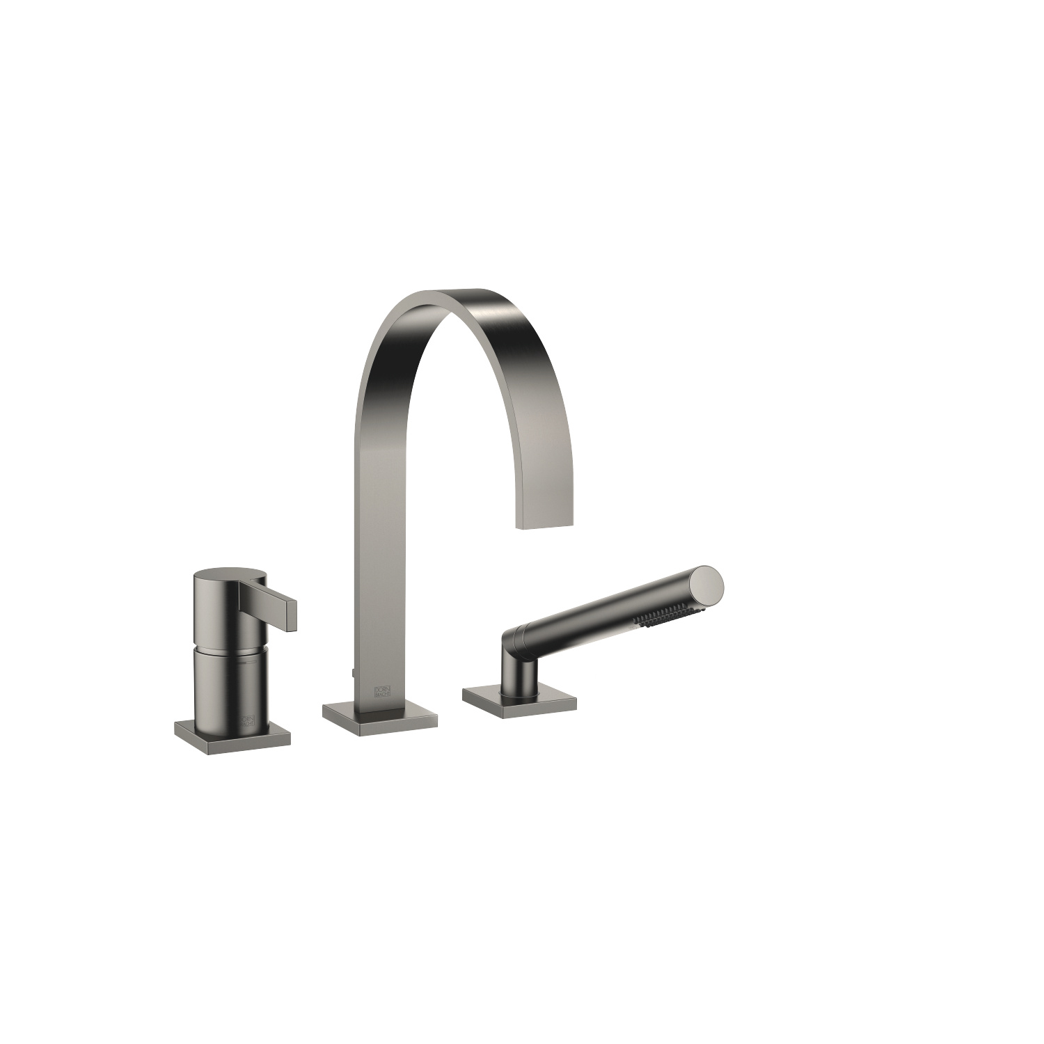 Three-hole single-lever bath mixer for bath rim or tile edge installation - Dark Platinum matt
