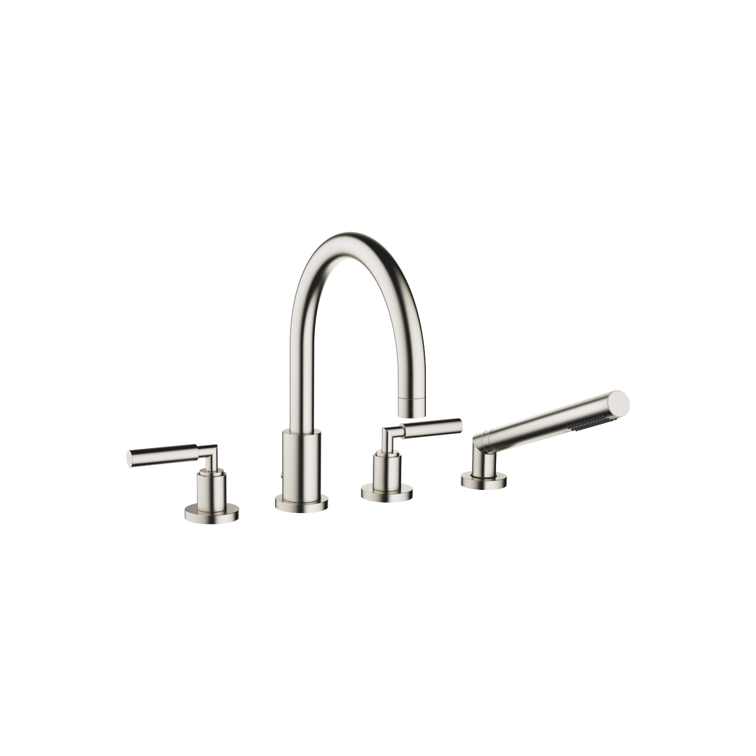 Deck-mounted tub mixer, with hand shower set for deck-mounted tub installation - platinum matte