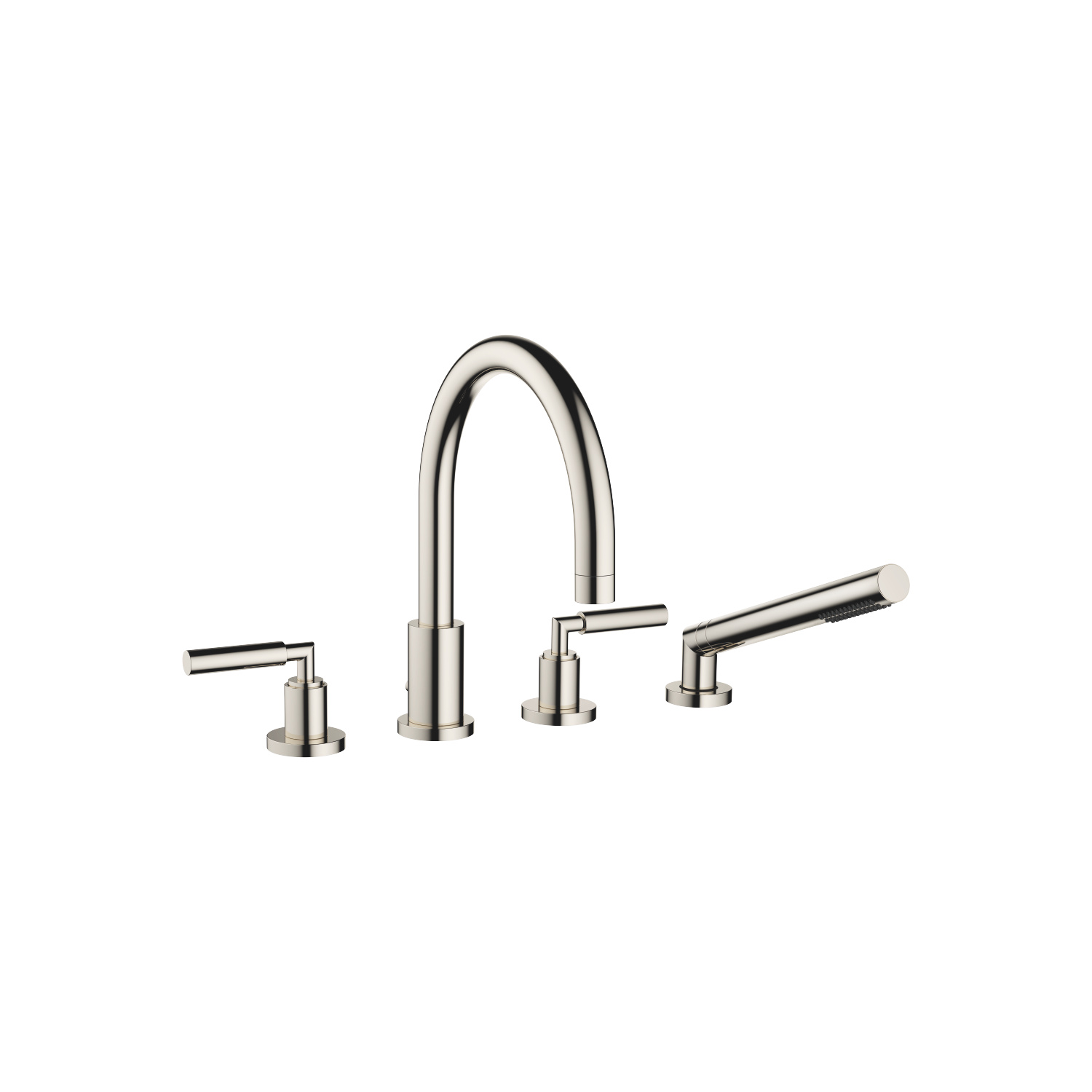 Bath shower set for bath rim or tile edge installation - platinum