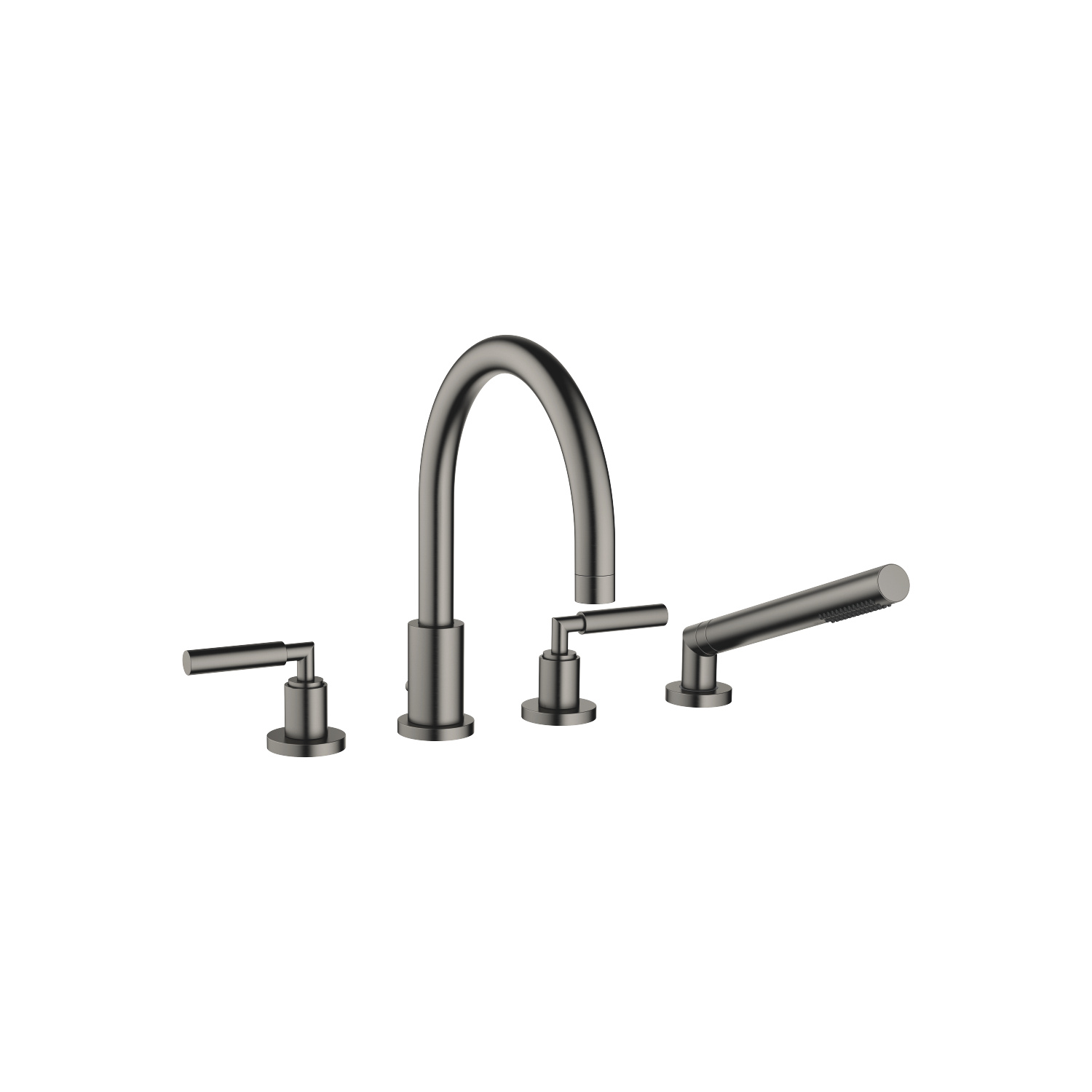 Deck-mounted tub mixer, with hand shower set for deck-mounted tub installation - Dark Platinum matte