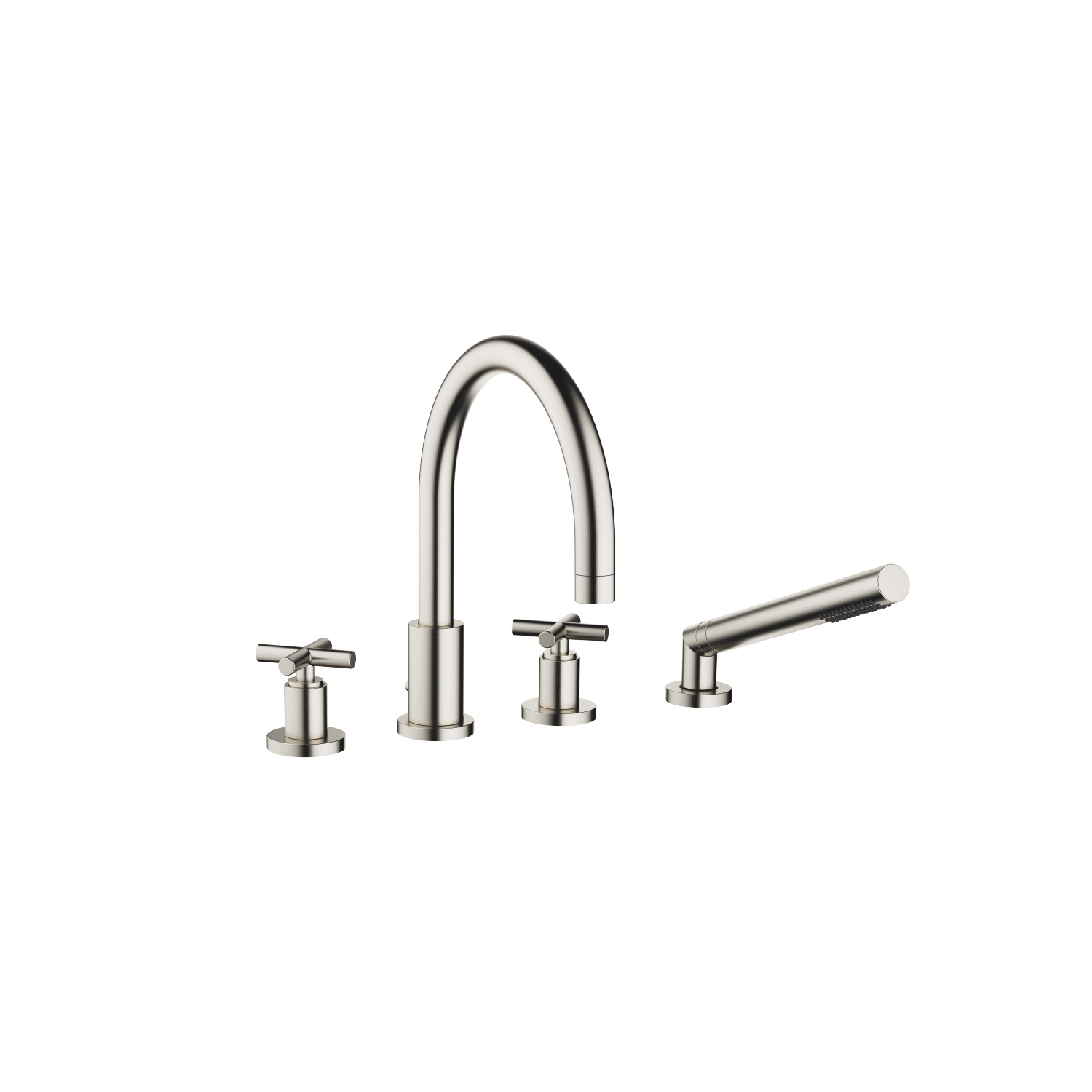 Bath shower set for bath rim or tile edge installation - platinum matt - 27 512 892-06
