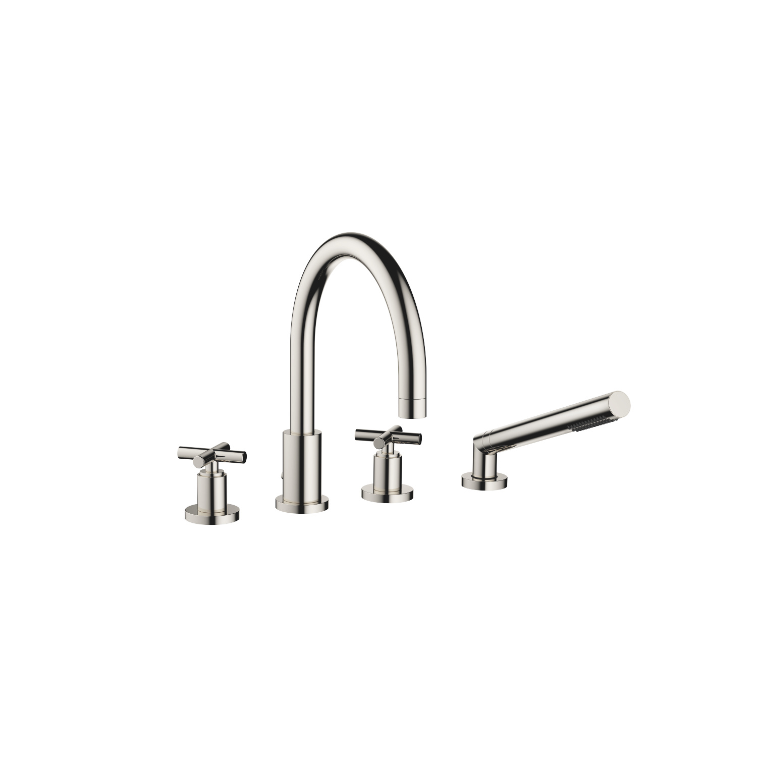 Deck-mounted tub mixer, with hand shower set for deck-mounted tub installation - platinum
