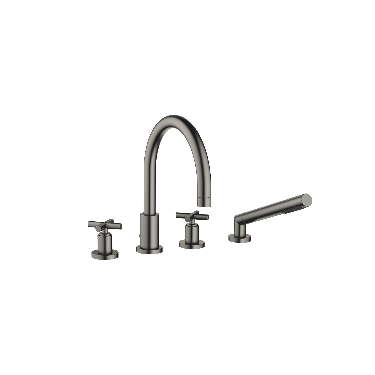 Bath shower set for bath rim or tile edge installation - Dark Platinum matt