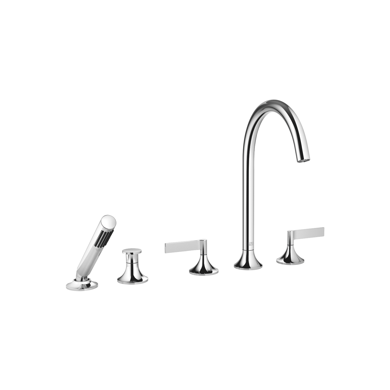 Five hole tub set for deck-mounted tub installation with diverter - polished chrome