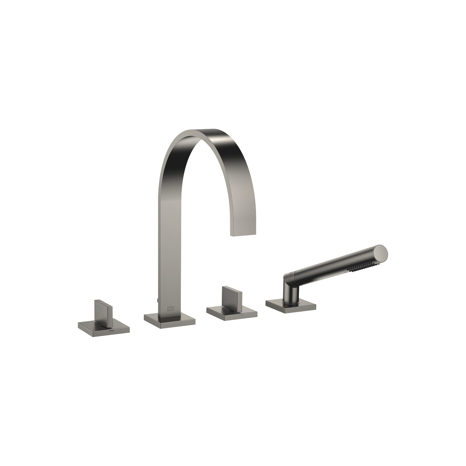 Deck-mounted tub mixer, with hand shower set for deck-mounted tub installation - Dark Platinum matte - 27 532 782-99