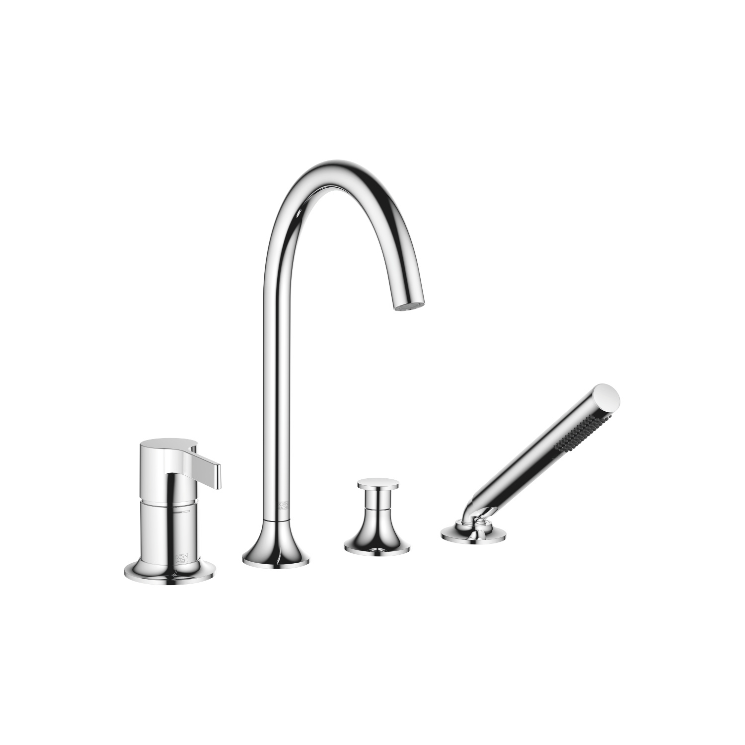 Bath shower set for bath rim or tile edge installation - polished chrome