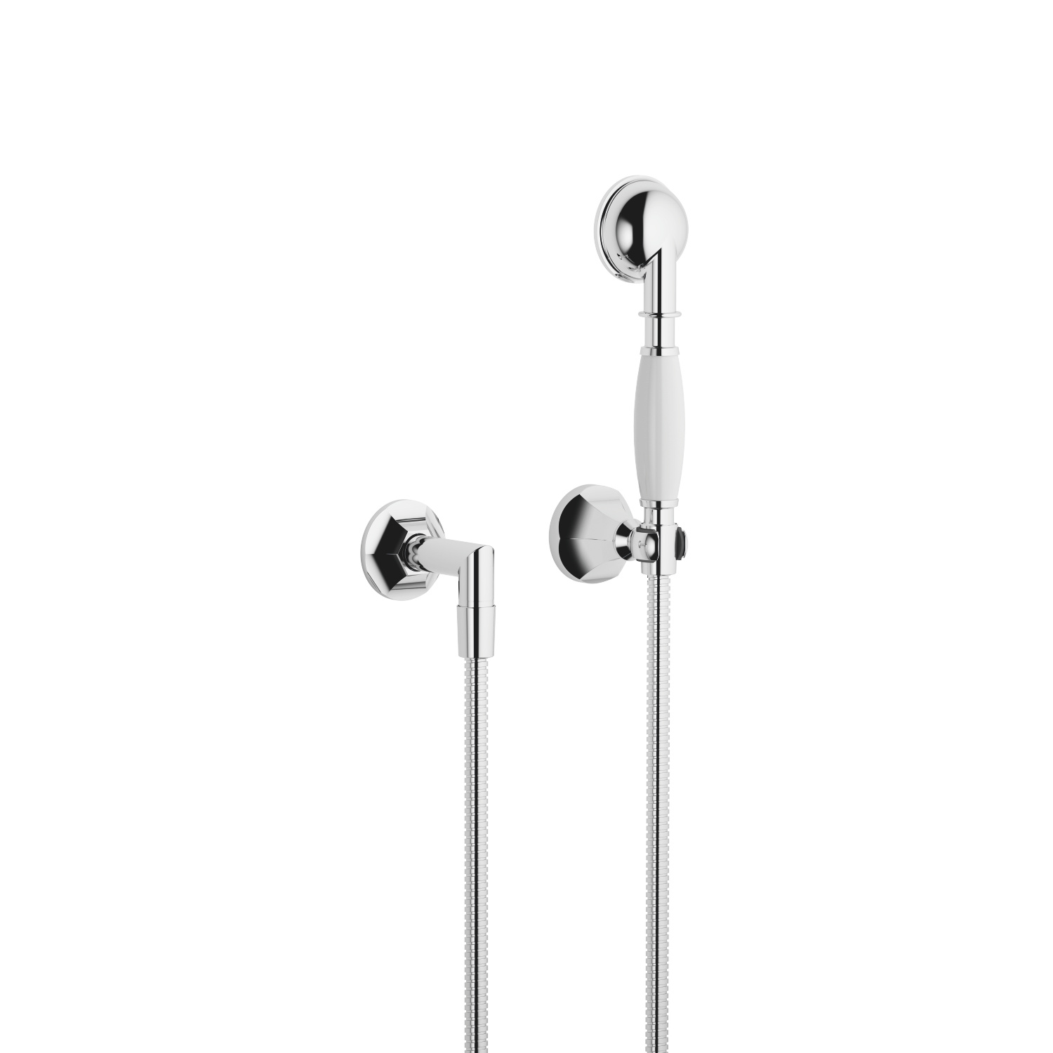 Hand shower set with individual rosettes - polished chrome