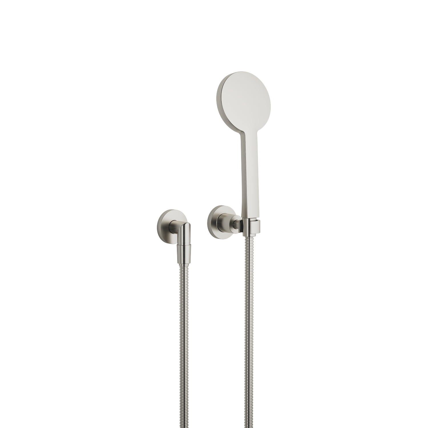 Hand shower set with individual flanges - platinum matte