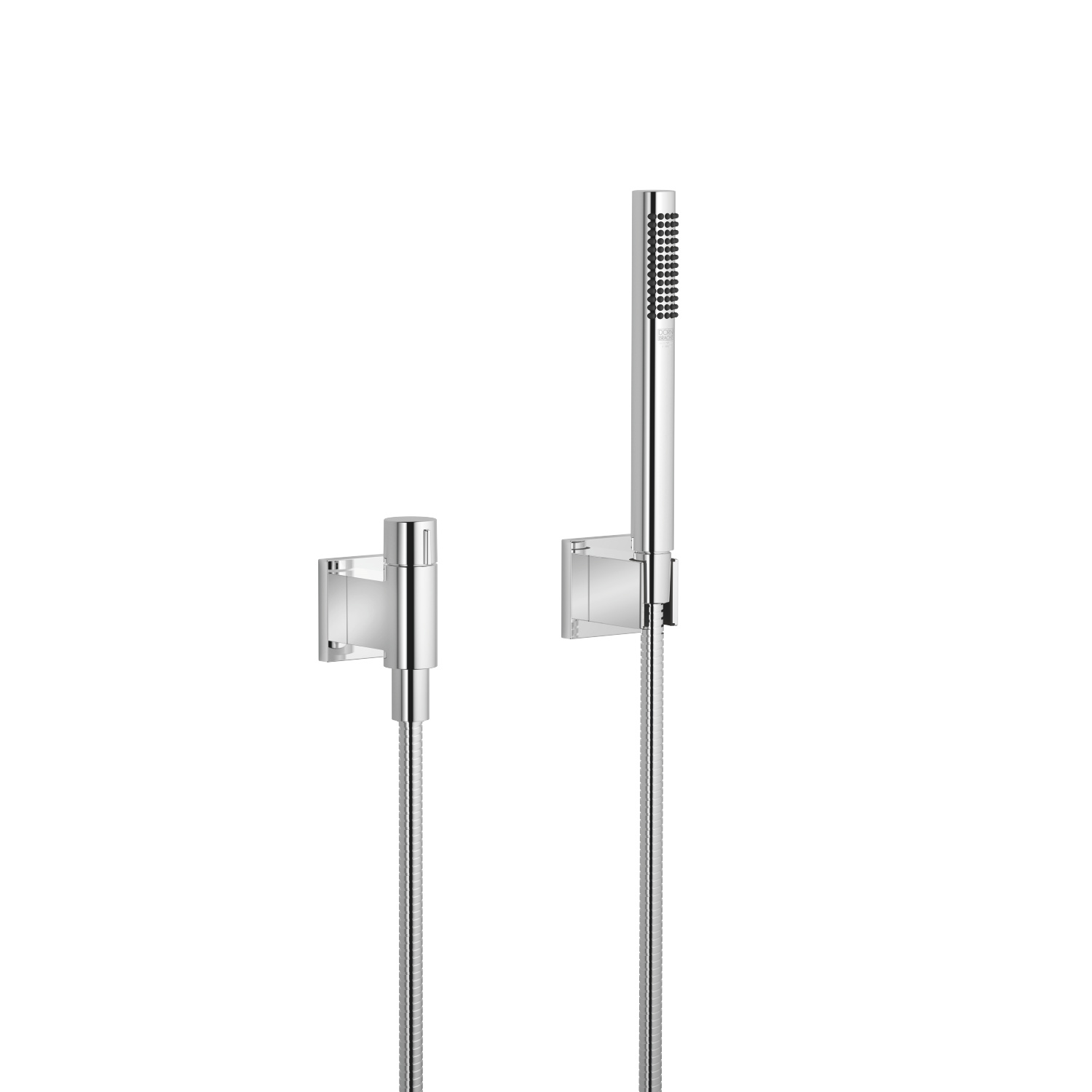 Hand shower set with individual flanges with volume control - polished chrome