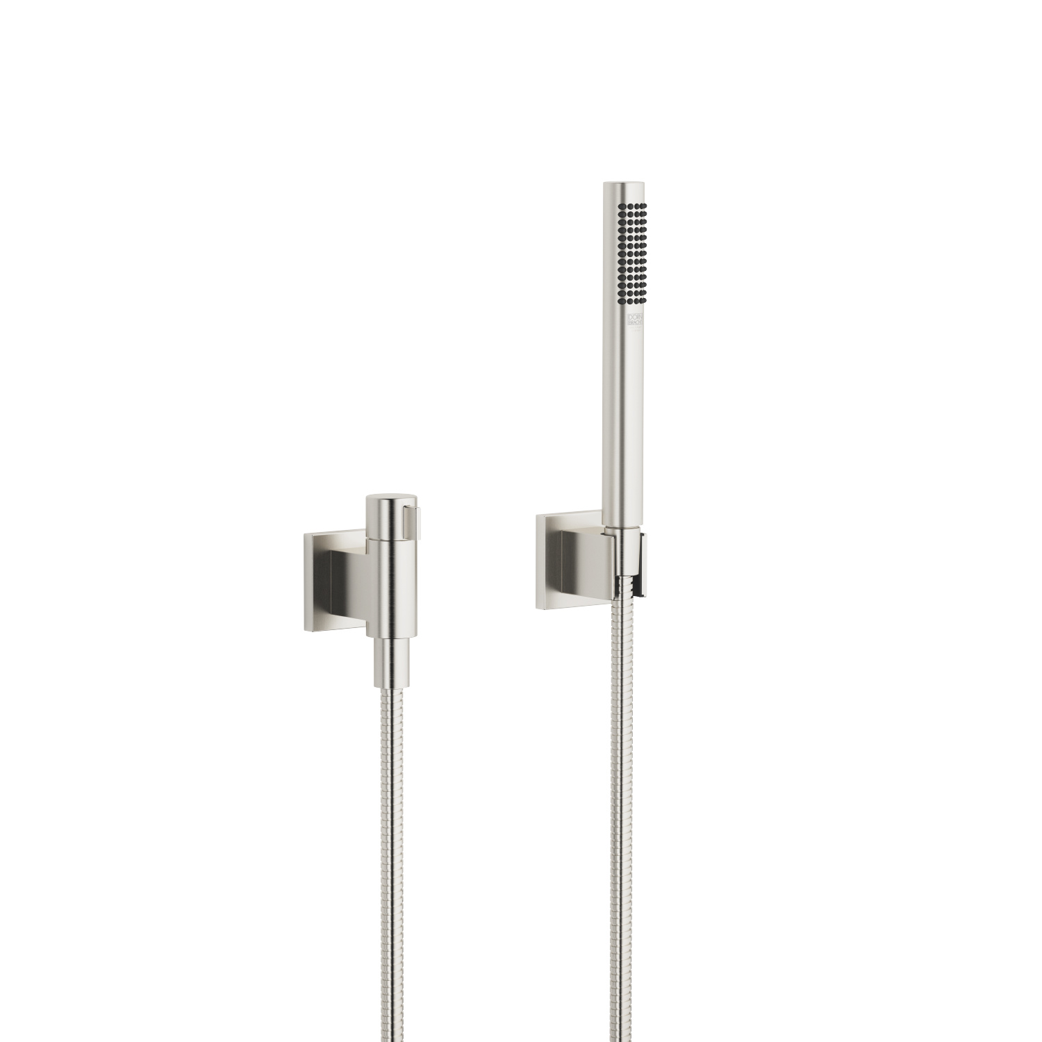Hand shower set with individual rosettes with volume control - platinum matt