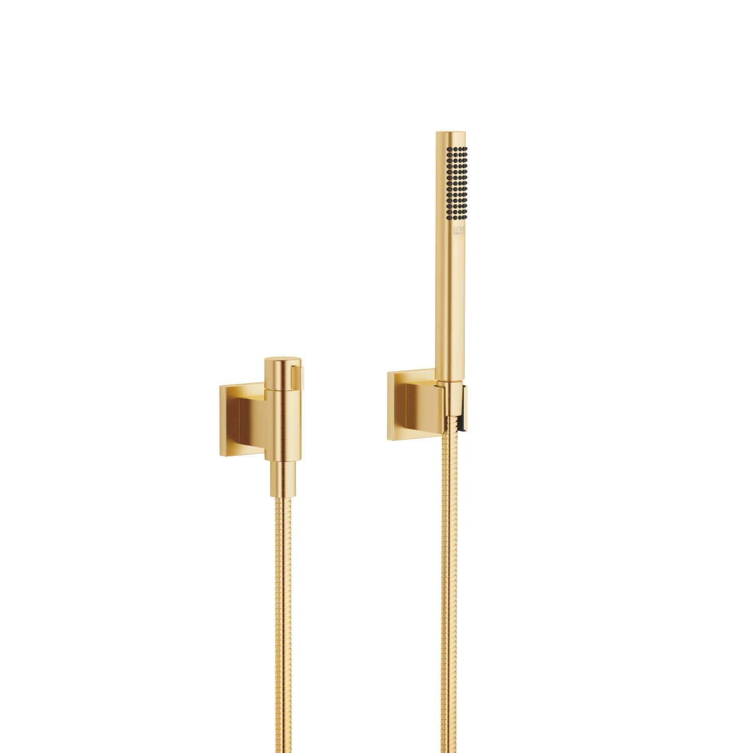Hand shower set with individual rosettes with volume control - brushed Durabrass