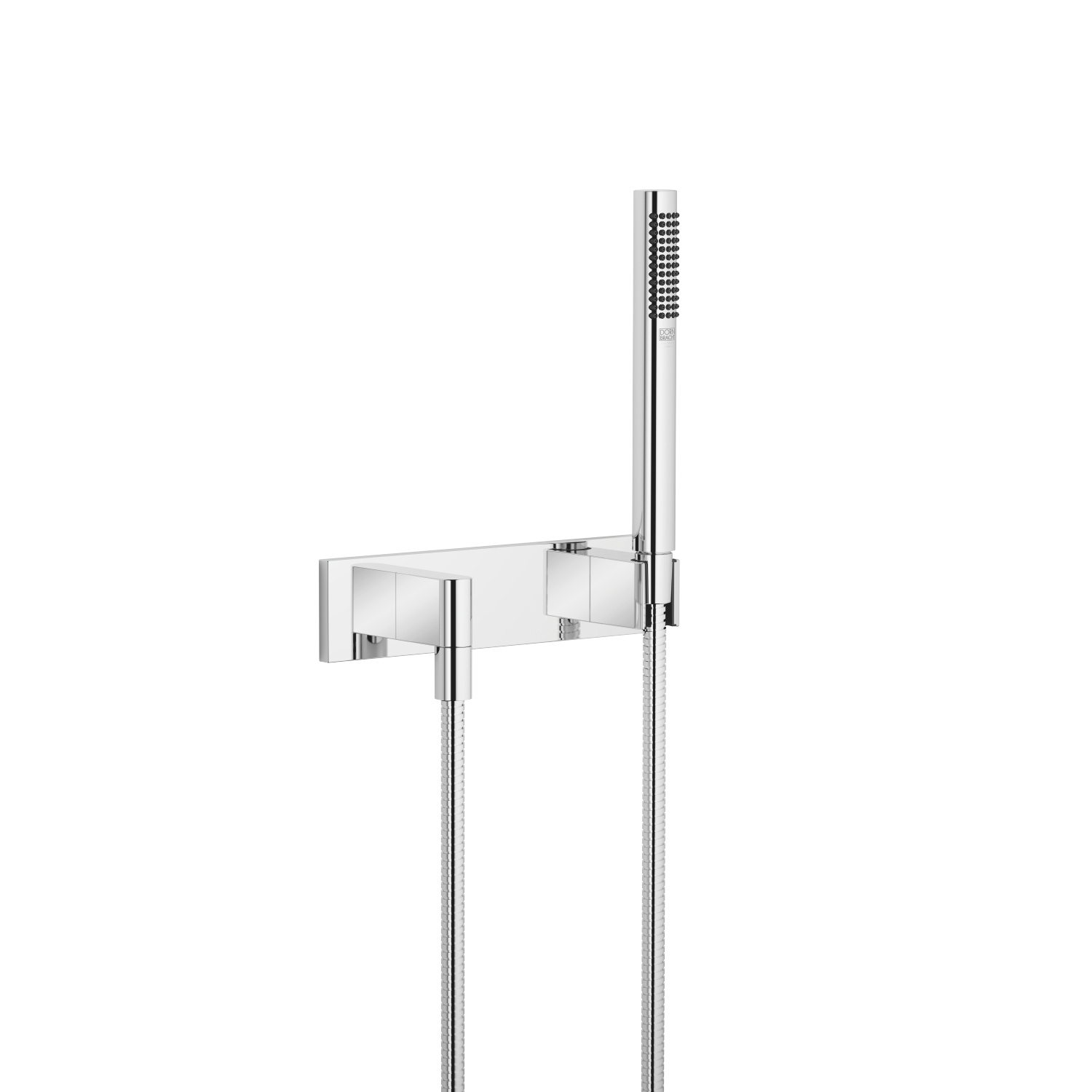 Hand shower set with cover plate - polished chrome