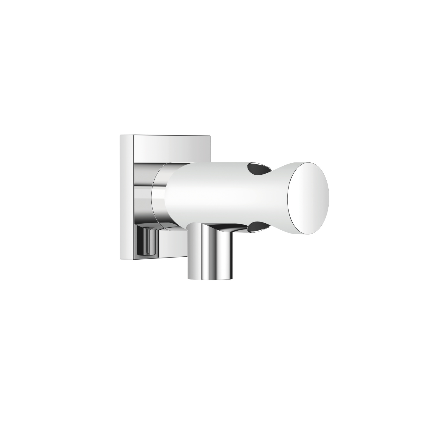 Wall elbow with integrated wall bracket - polished chrome