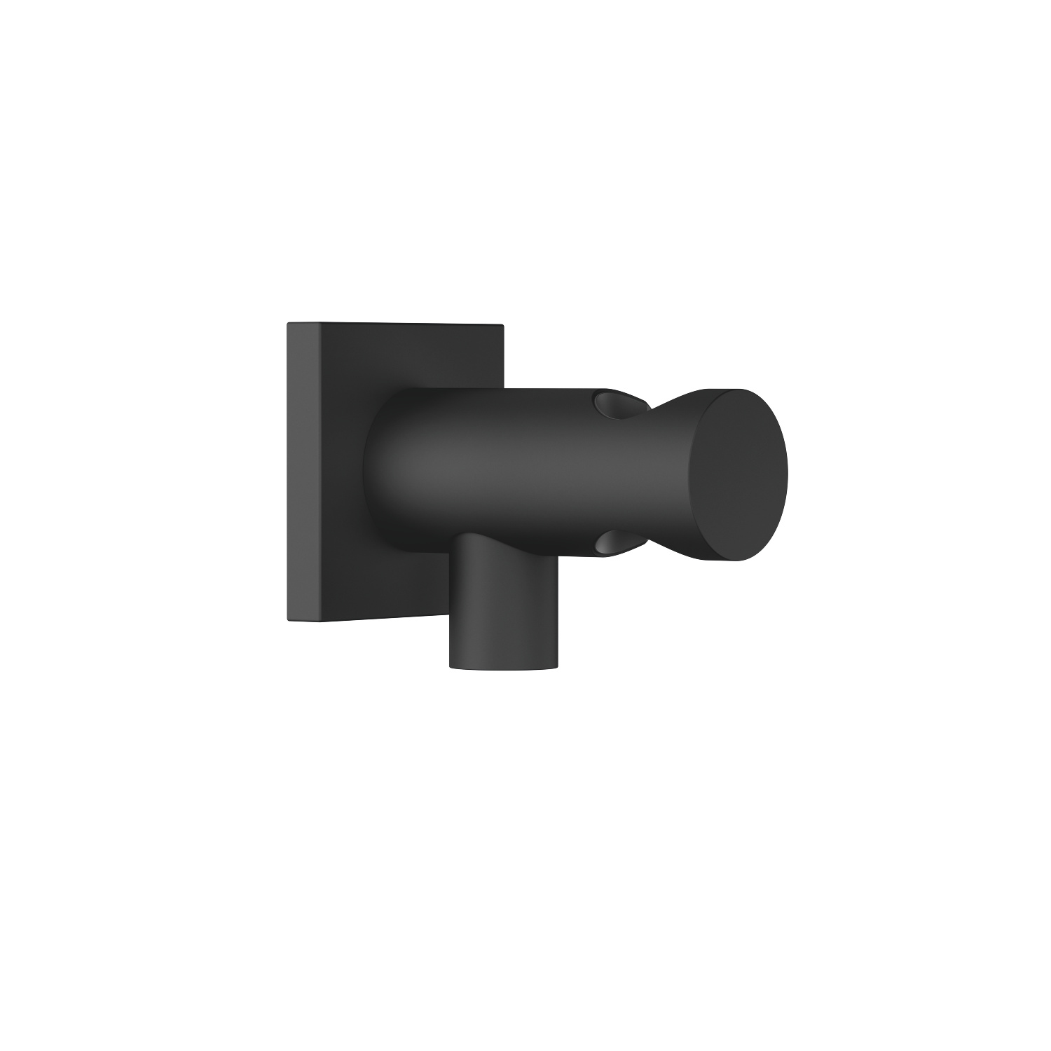 Wall elbow with integrated wall bracket - black matte
