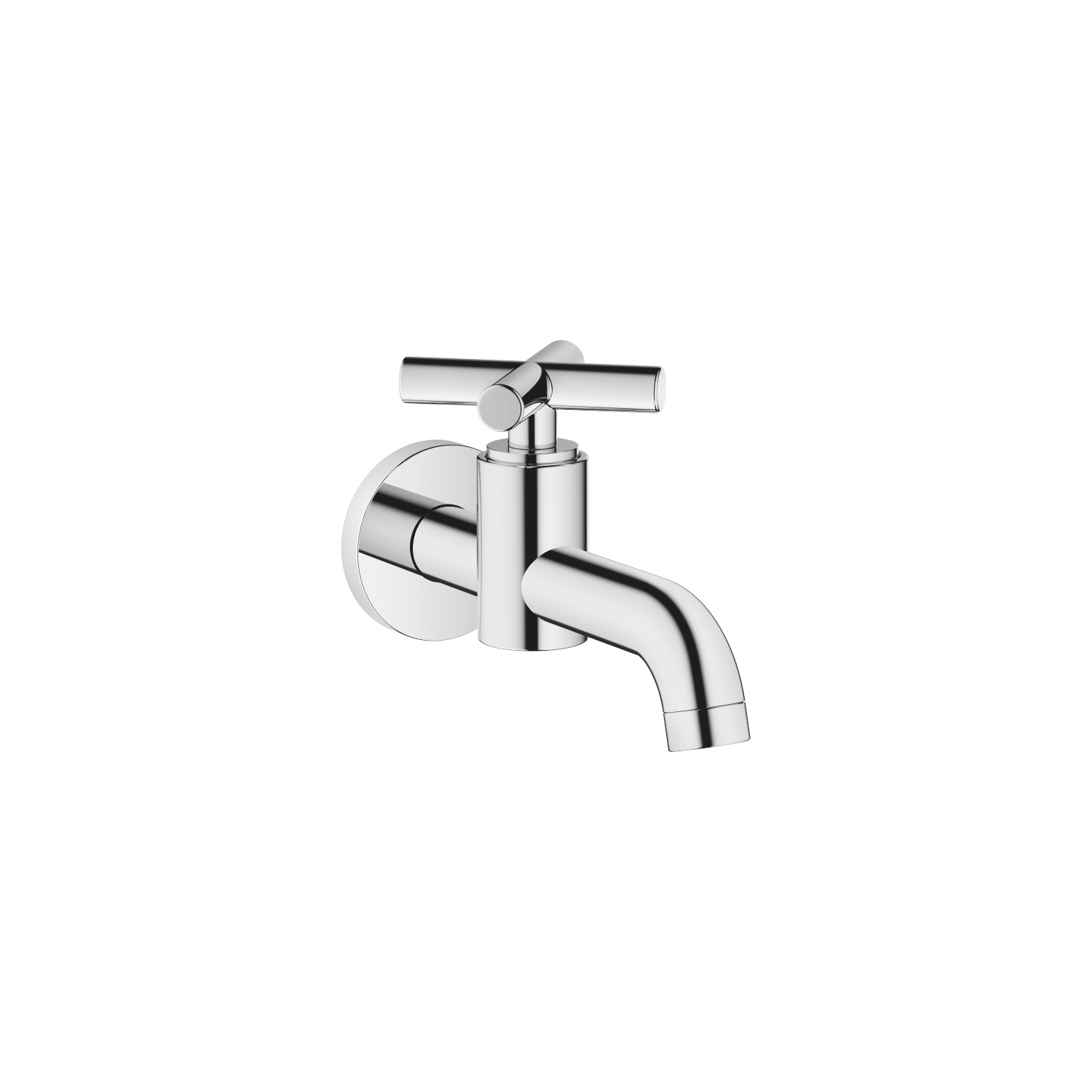 Wall-mounted valve cold water - polished chrome