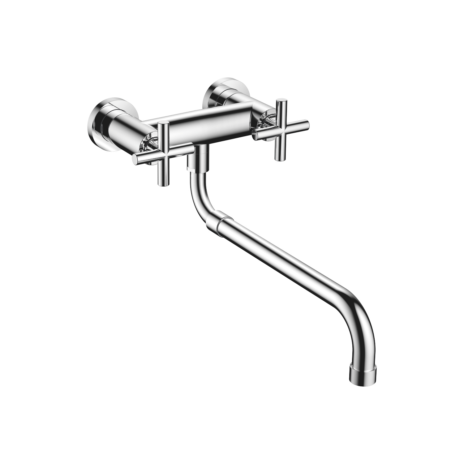 Wall-mounted bridge mixer with extending spout - polished chrome