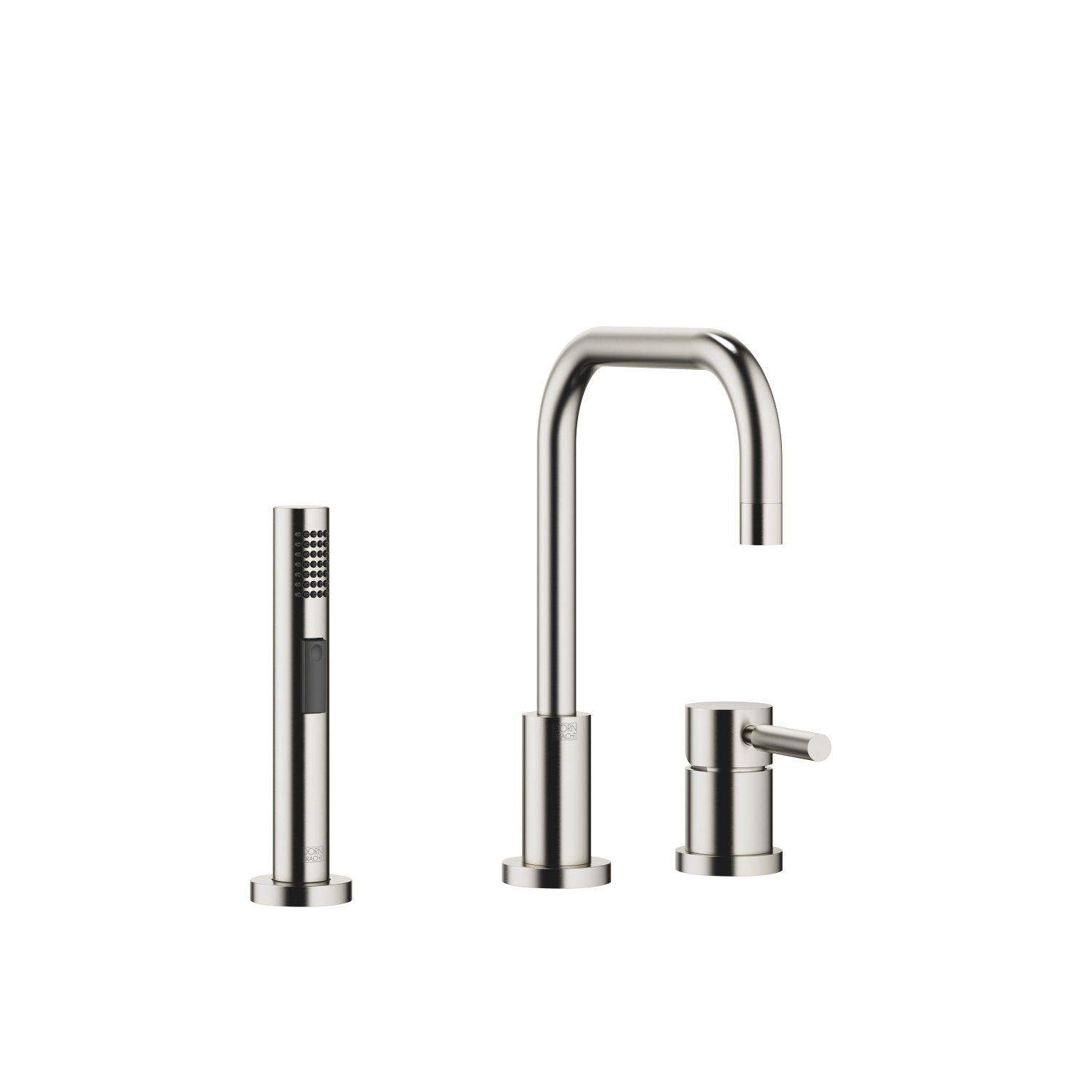 Two-hole mixer with individual rosettes with rinsing spray set - platinum matt