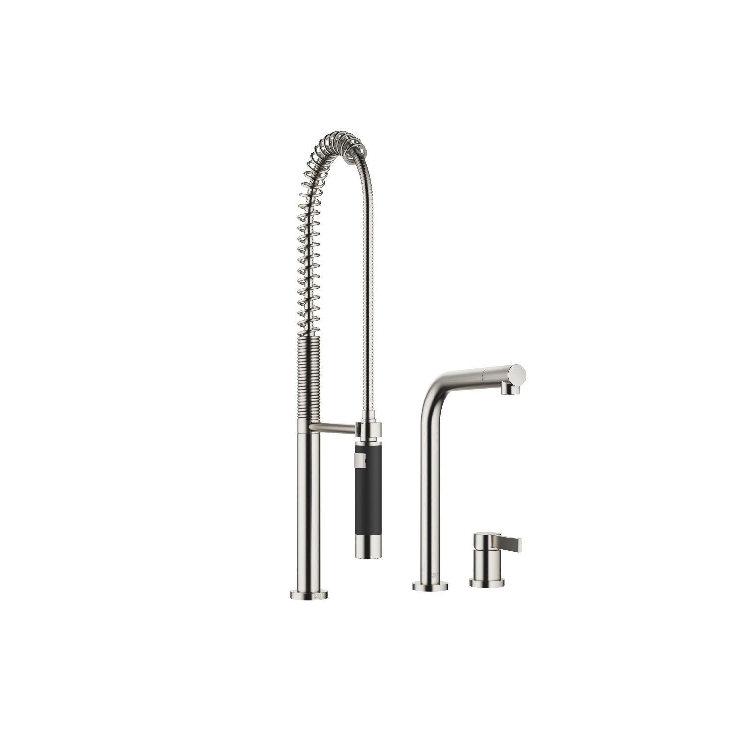 Two-hole mixer with individual rosettes with profi spray set - platinum matt