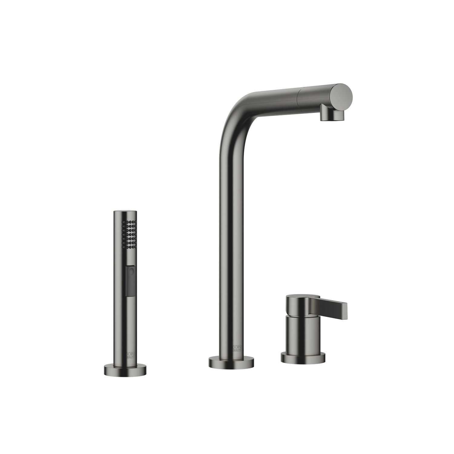 Two-hole mixer with individual flanges with side spray set - Dark Platinum matte