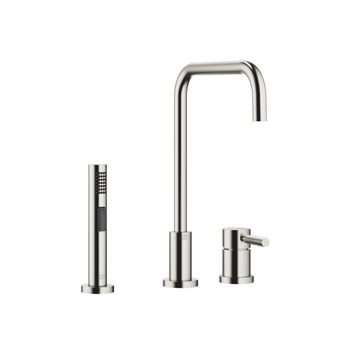 Two-hole mixer with individual flanges with side spray set - platinum matte