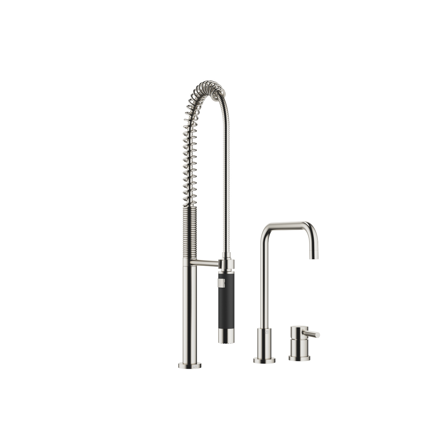 Two-hole mixer with individual flanges with Profi spray set - platinum matte