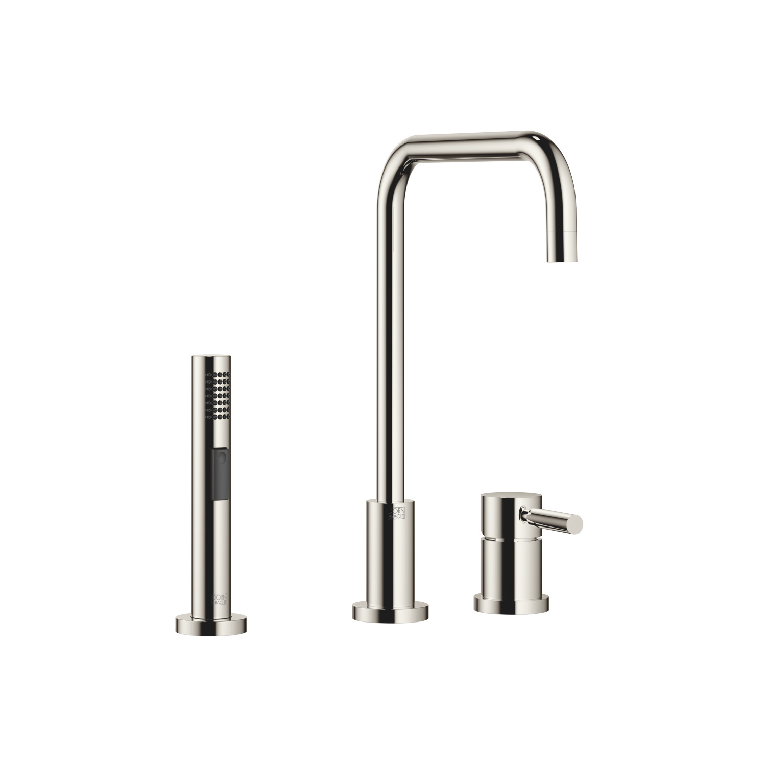 Two-hole mixer with individual rosettes with rinsing spray set - platinum