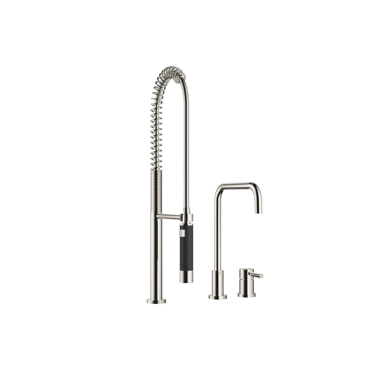 Two-hole mixer with individual flanges with Profi spray set - platinum