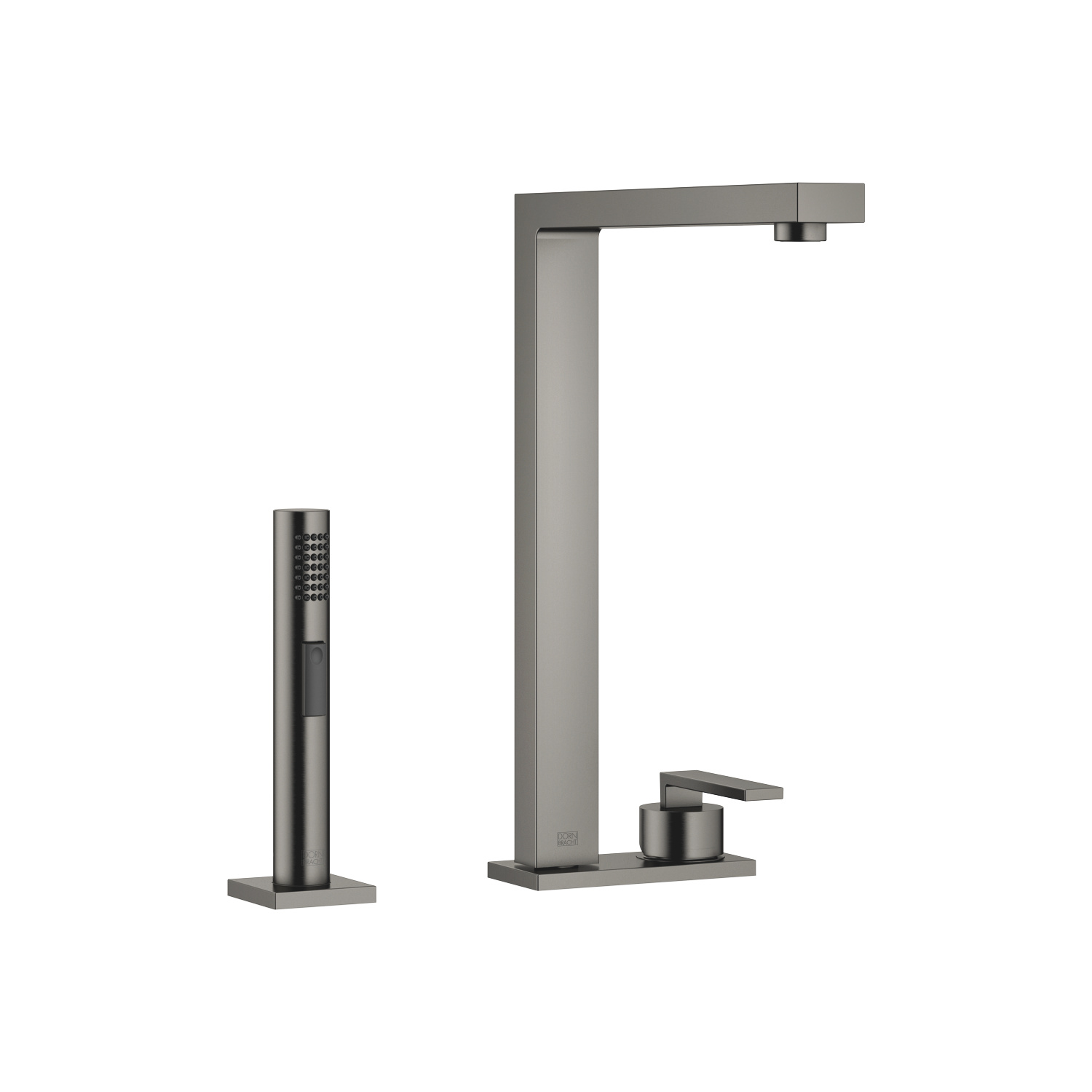 Two-hole mixer with cover plate with side spray set - Dark Platinum matte