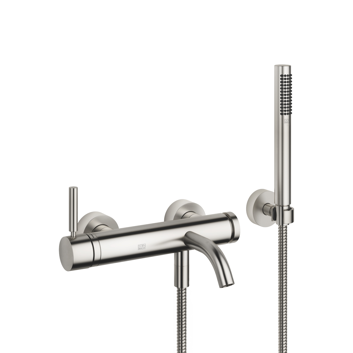 Single-lever tub mixer for wall-mounted installation with hand shower set - platinum matte