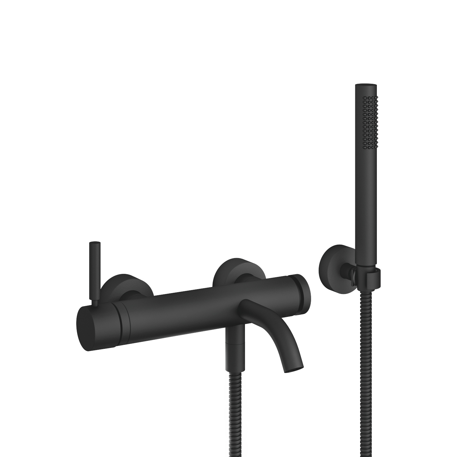 Single-lever bath mixer for wall mounting with hand shower set - matt black