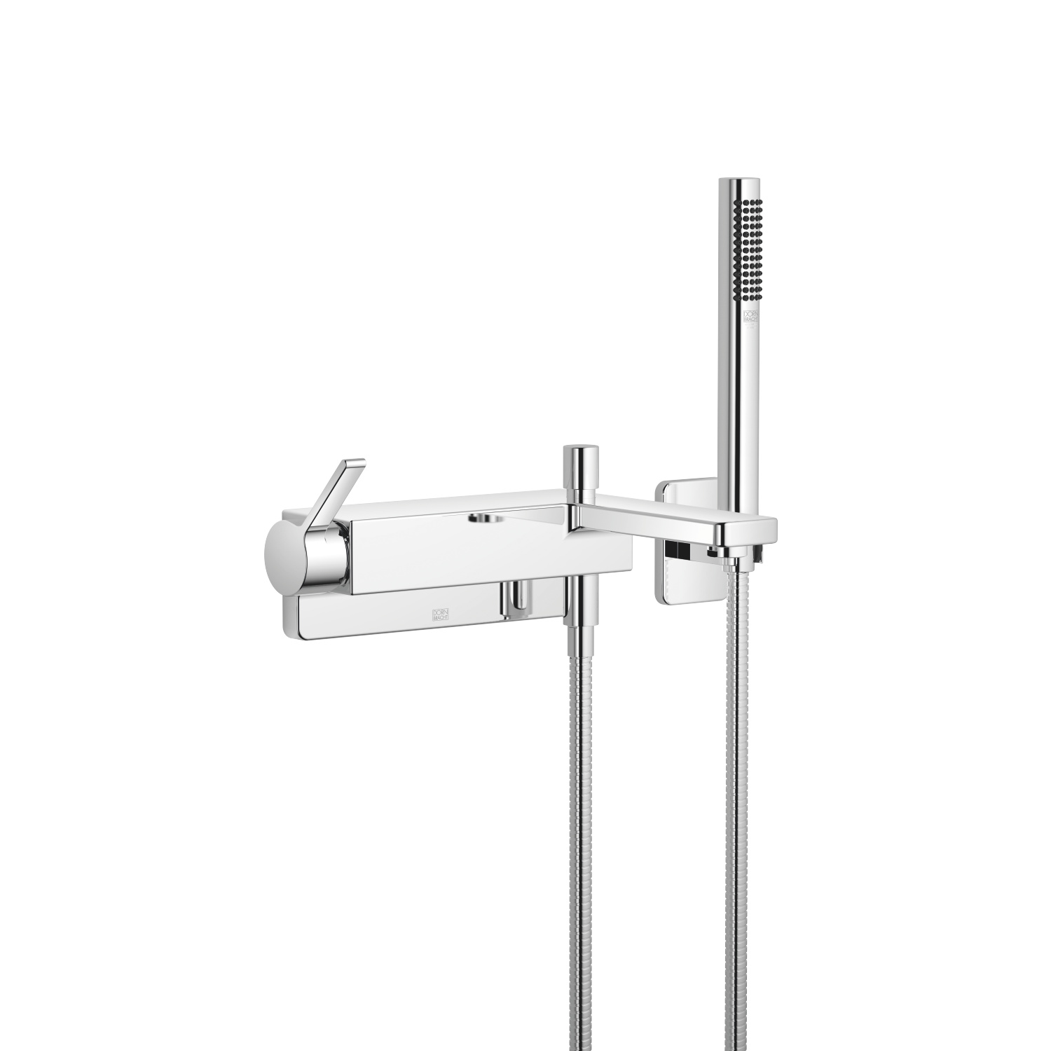 Single-lever bath mixer for wall mounting with hand shower set - polished chrome