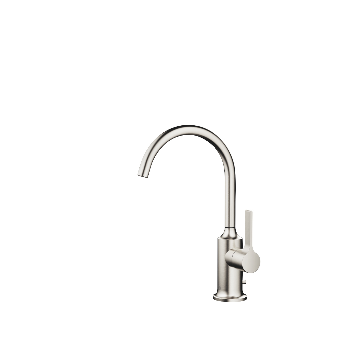 Single-lever lavatory mixer with drain - platinum matte
