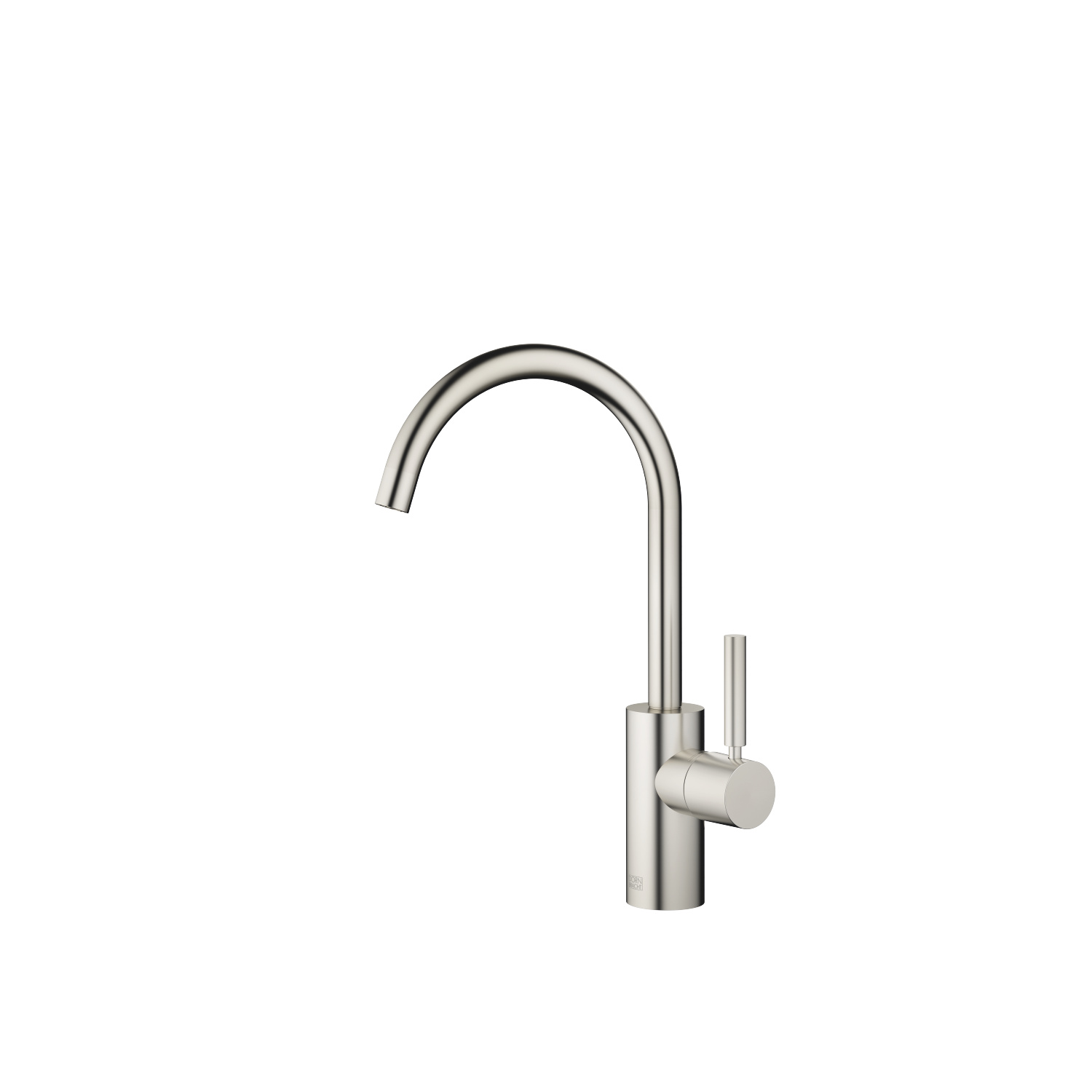 Single-lever basin mixer without pop-up waste - platinum matt