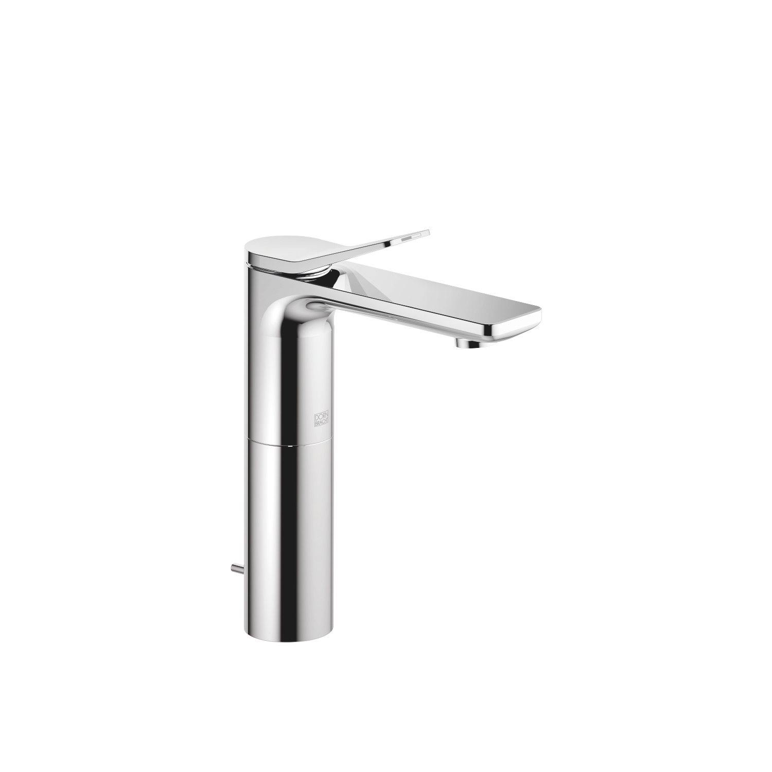 Single-lever basin mixer with high spout with pop-up waste - polished chrome
