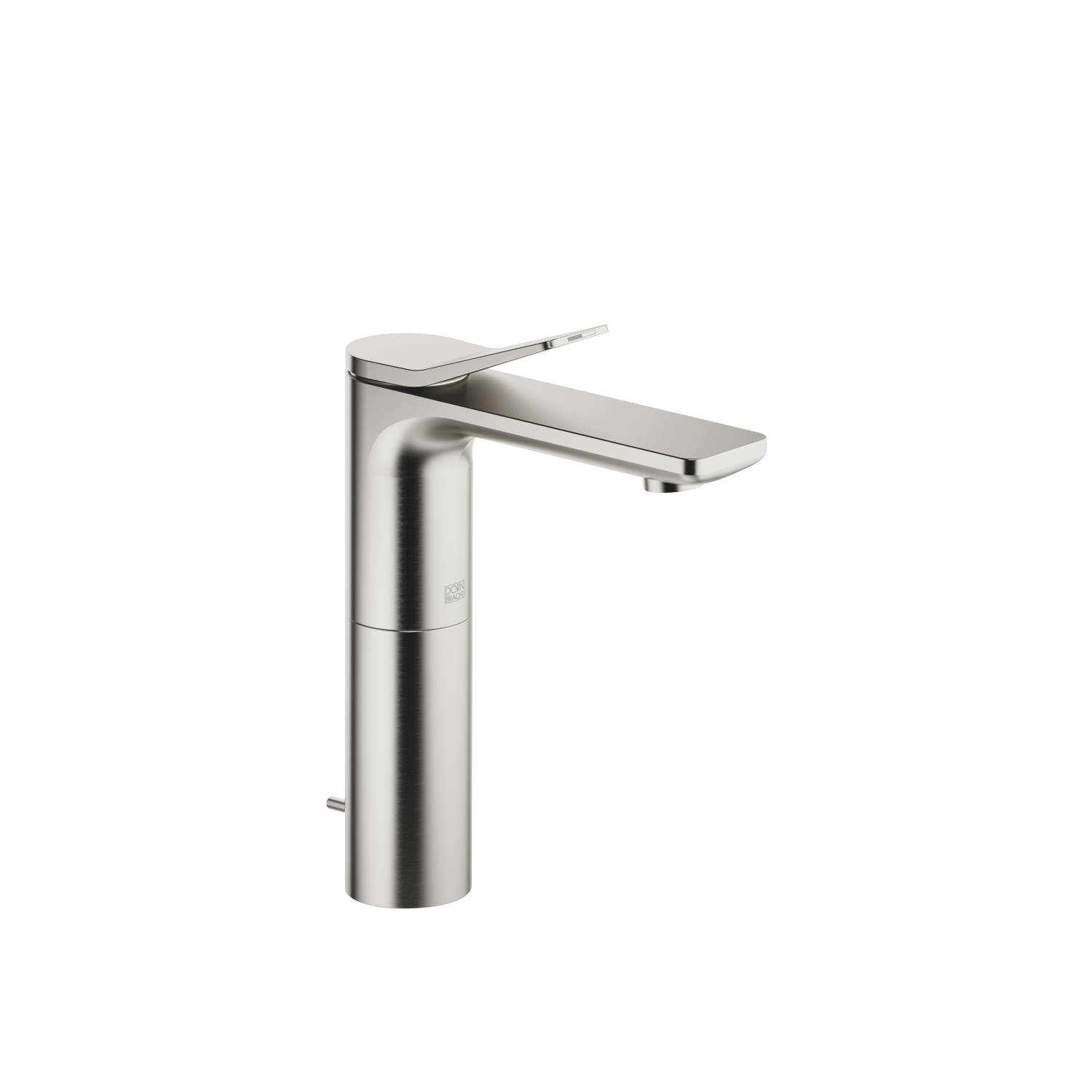 Single-lever basin mixer with high spout with pop-up waste - platinum matt