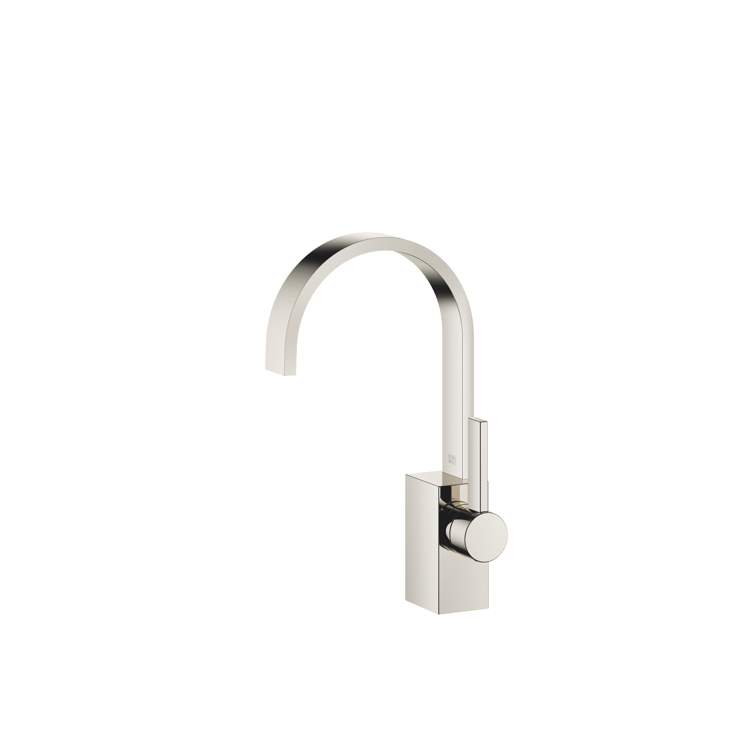 Single-lever basin mixer without pop-up waste - platinum