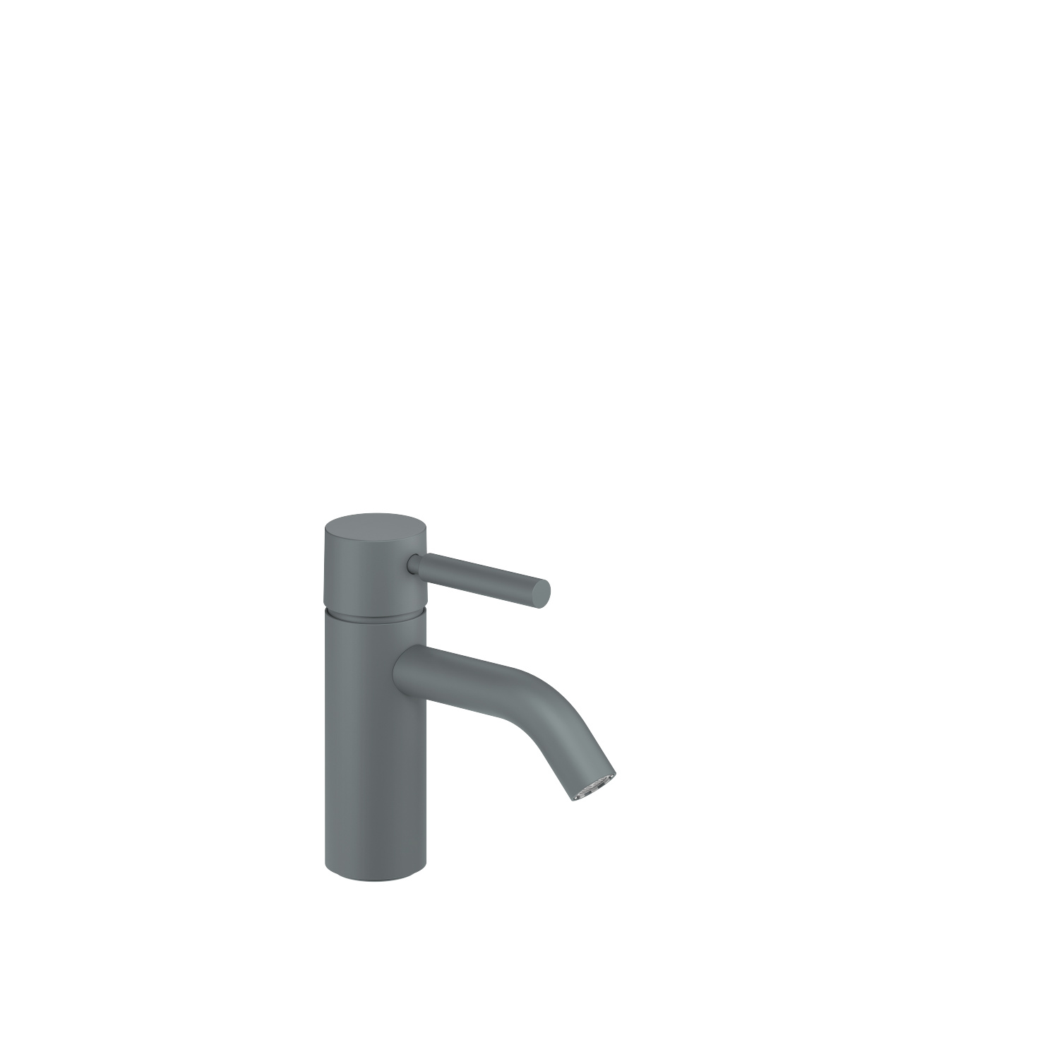 Single-lever basin mixer without pop-up waste - light grey
