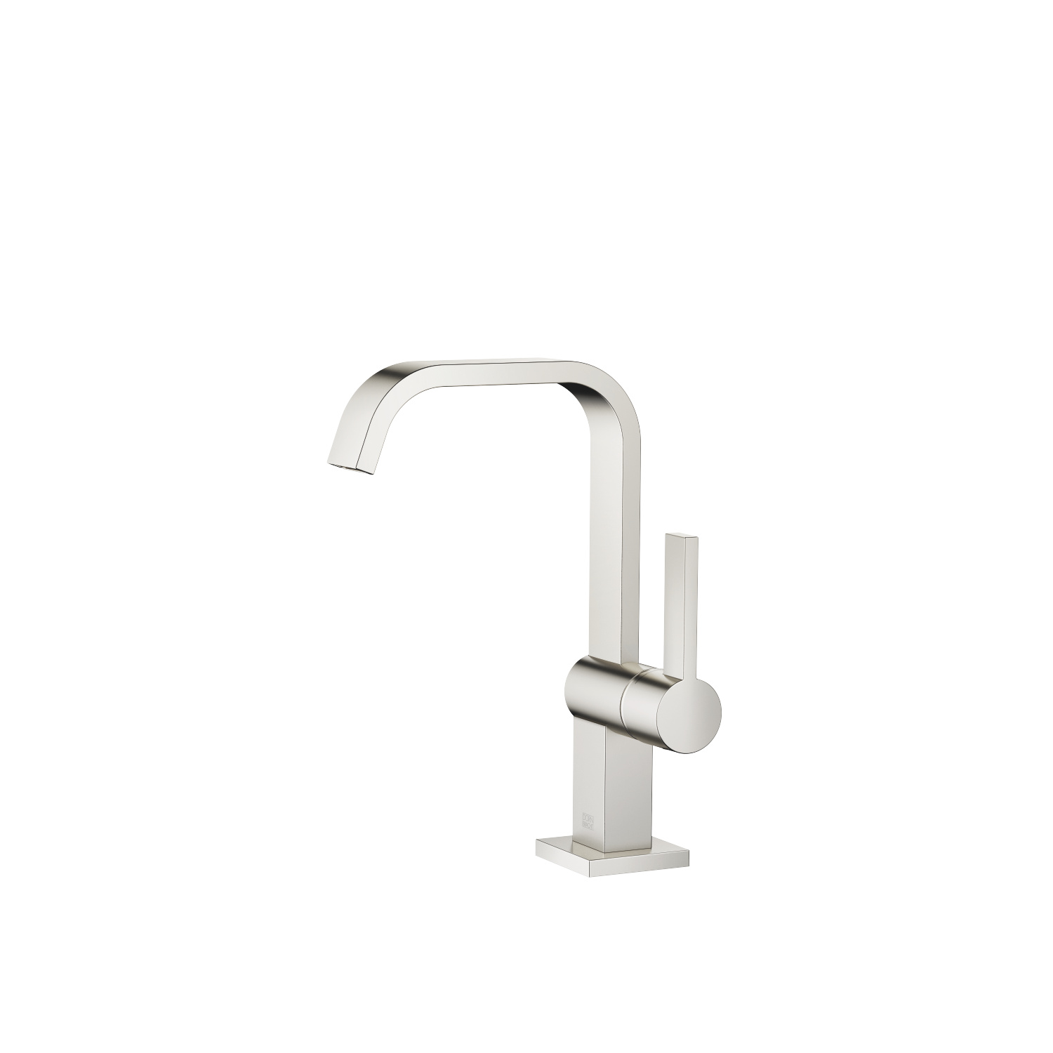 Single-lever basin mixer with high spout without pop-up waste - platinum matt