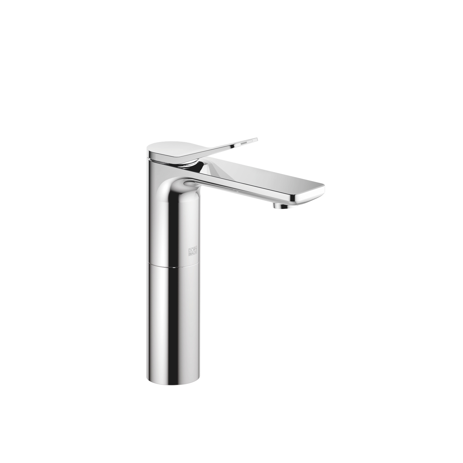 Single-lever basin mixer with high spout without pop-up waste - polished chrome