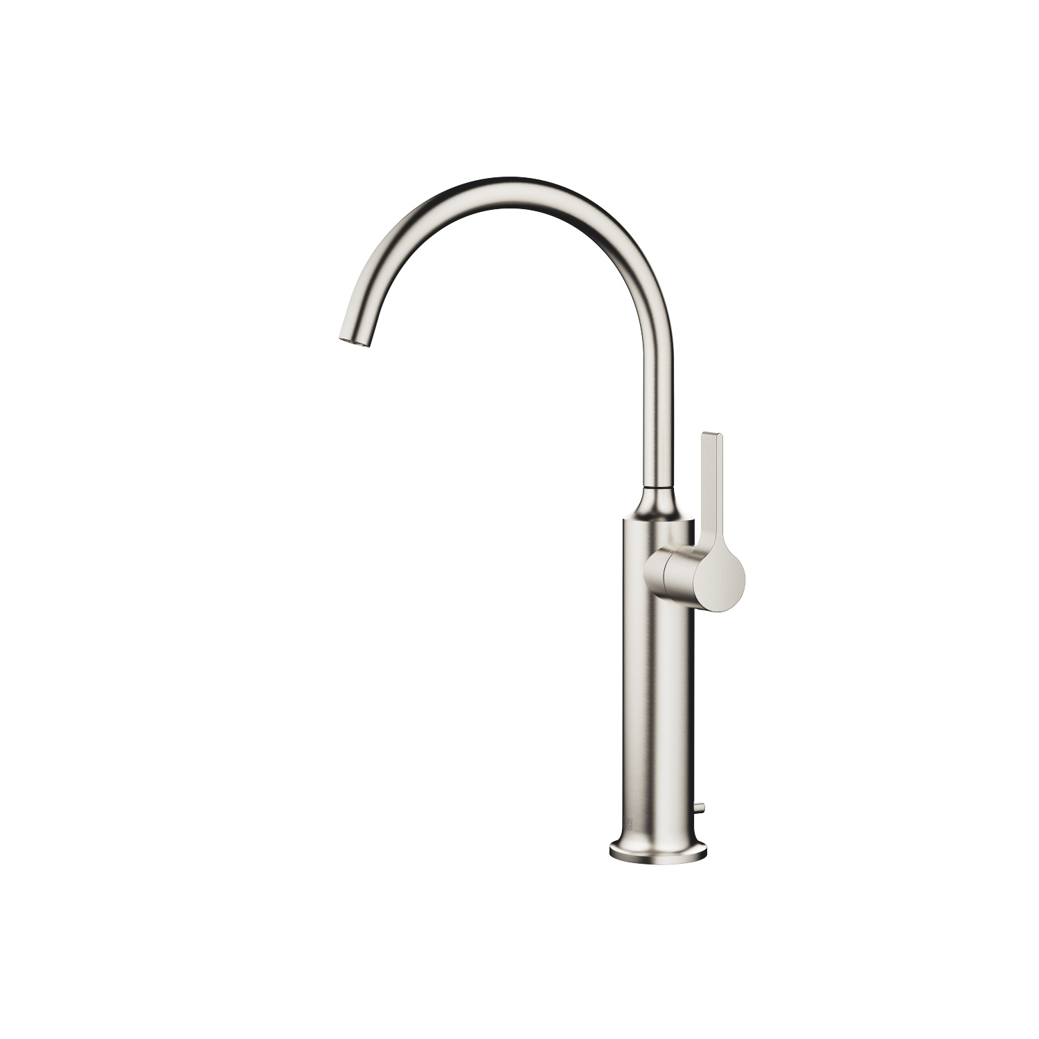 Single-lever lavatory mixer with extended shank with drain - platinum matte