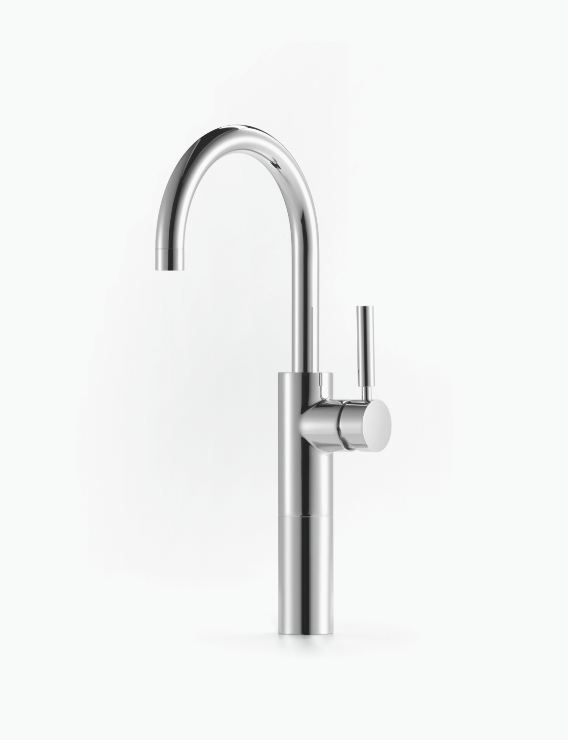 Single-lever basin mixer with raised base with pop-up waste - platinum matt
