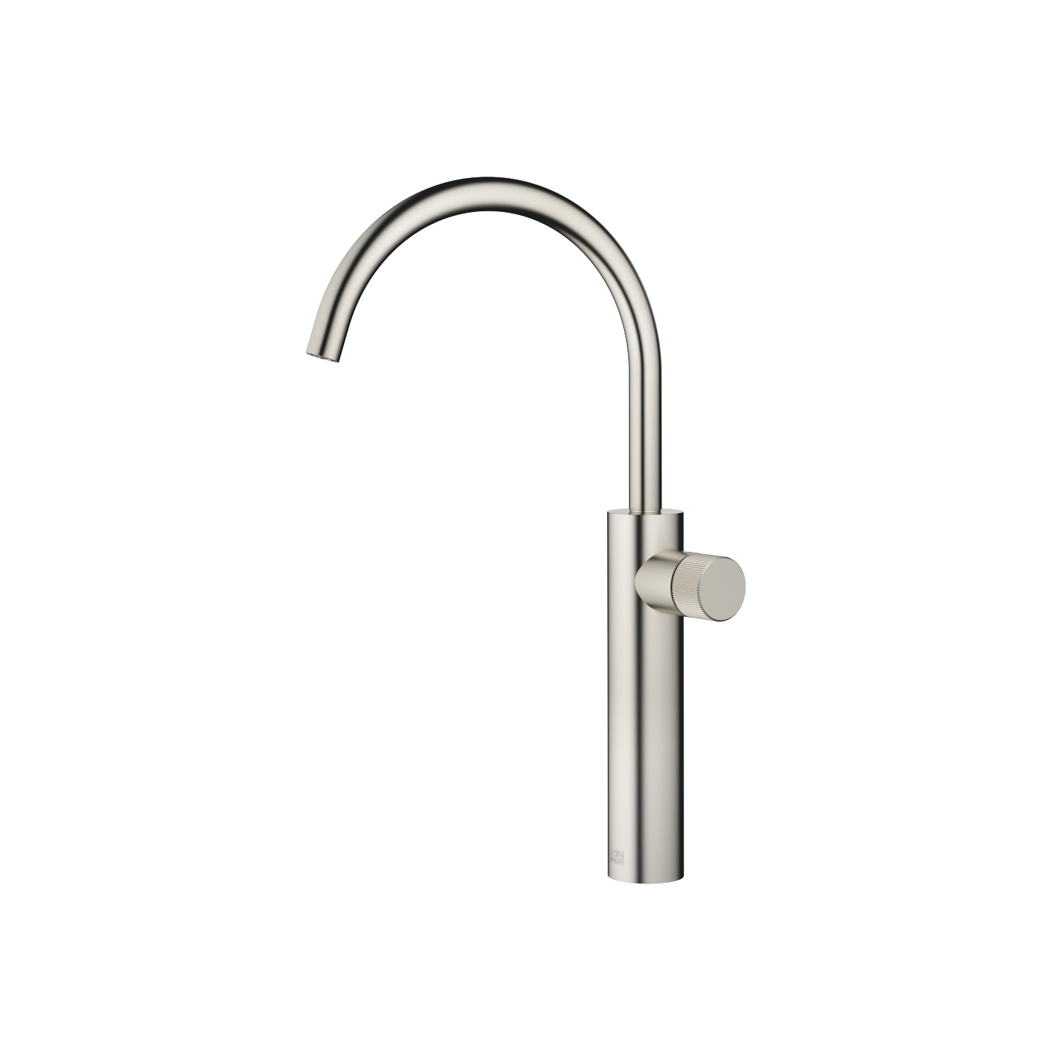 META PURE Single-lever basin mixer with raised base without pop-up waste - platinum matt