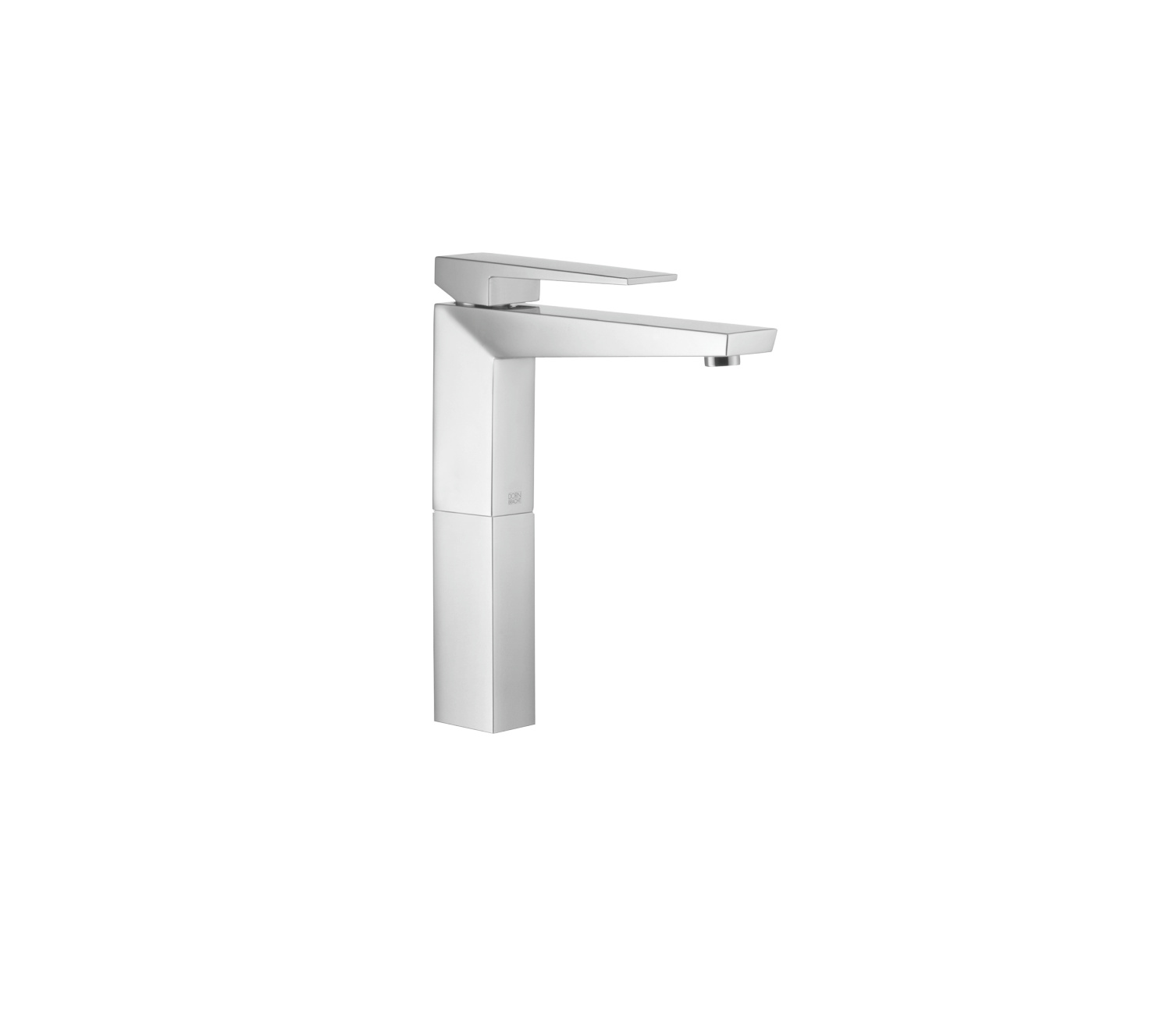Single-lever basin mixer with raised base without pop-up waste - Champagne