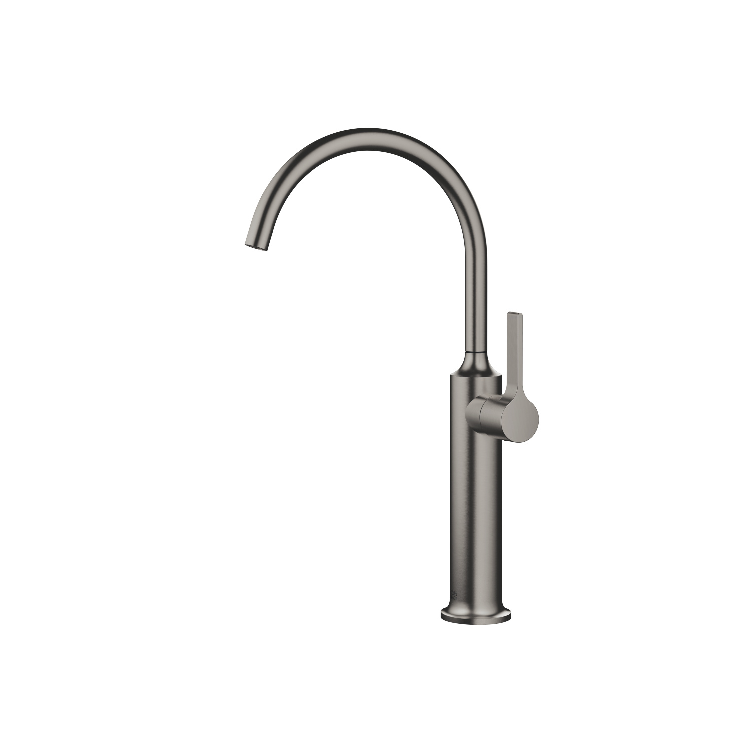 Single-lever basin mixer with raised base without pop-up waste - Dark Platinum matt