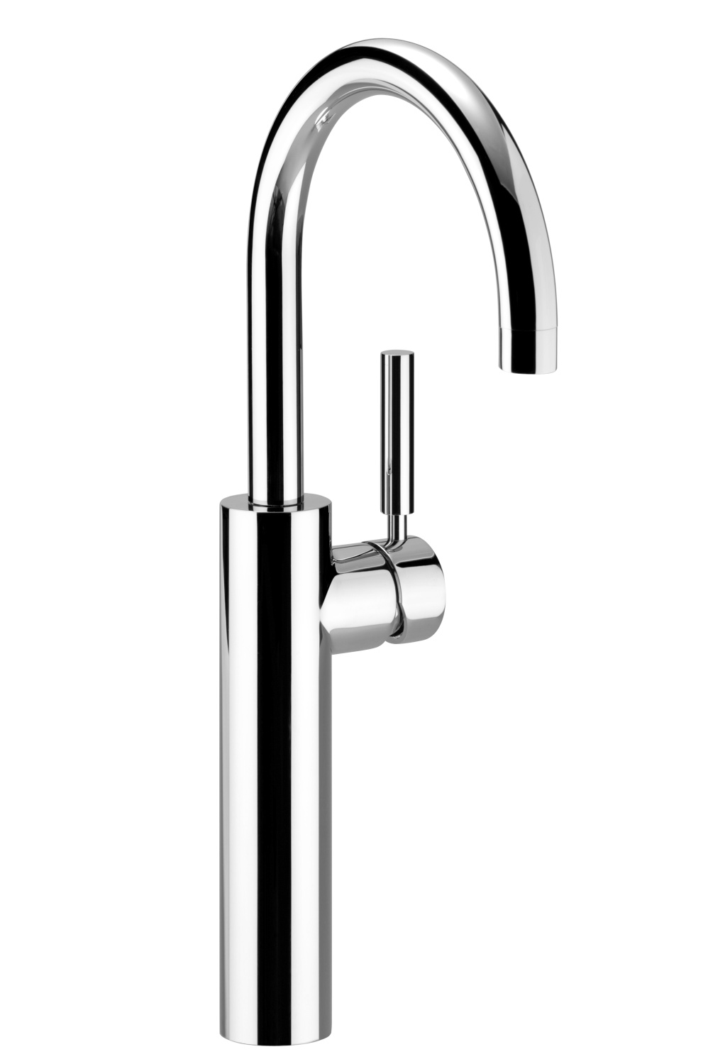 Single-lever basin mixer with raised base without pop-up waste - platinum matt