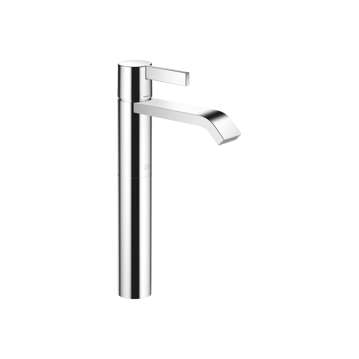 Single-lever basin mixer with raised base without pop-up waste - polished chrome