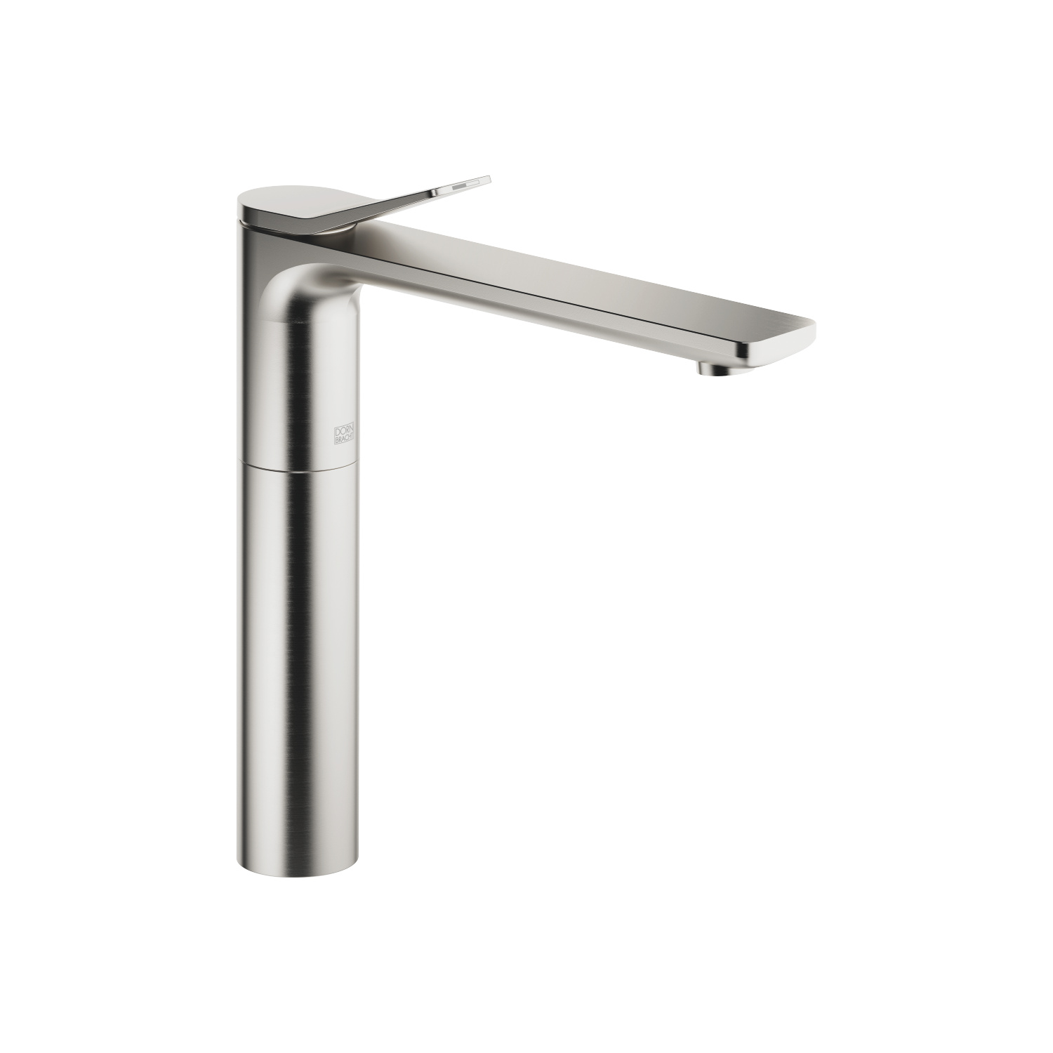 Single-lever lavatory mixer with extended shank without drain - platinum matte