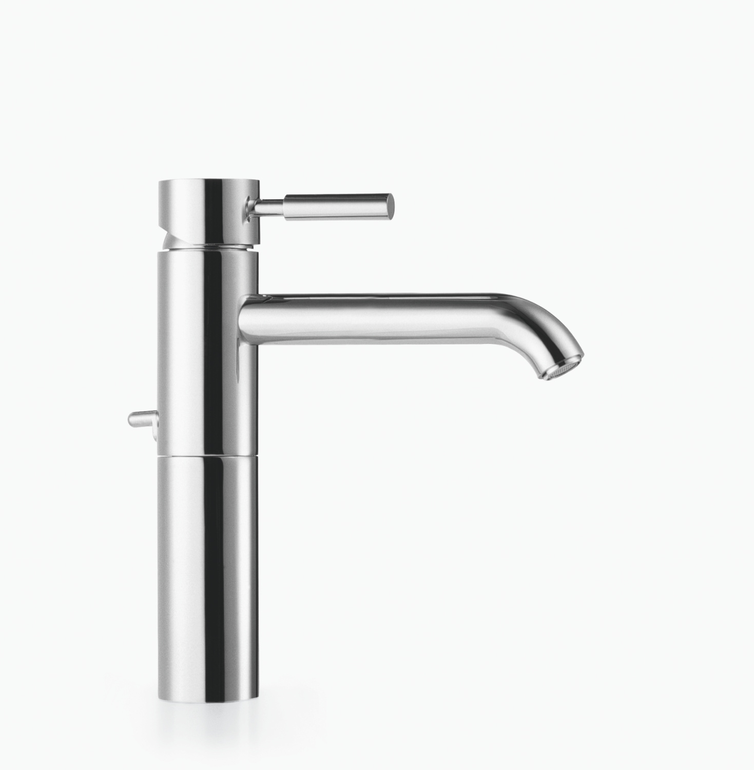 Single-lever basin mixer with raised base with pop-up waste - polished chrome